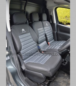 Citroen Berlingo Tailored Quilted Seat Covers - Charcoal & Pewter Grey & Logos