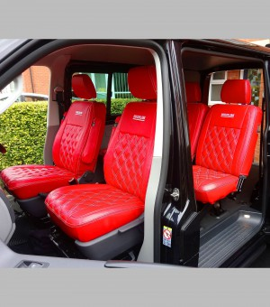 VW Transporter T6 Highline Kombi Seat Covers Red Diamond Quilted