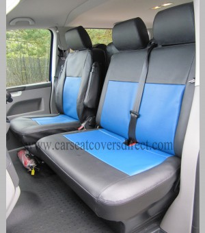 VOLKSWAGEN VW TRANSPORTER T5 9 SEATER Black & Blue Seat Covers