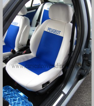 Custom PEUGEOT 406 White And Blue Leatherette Seat Covers