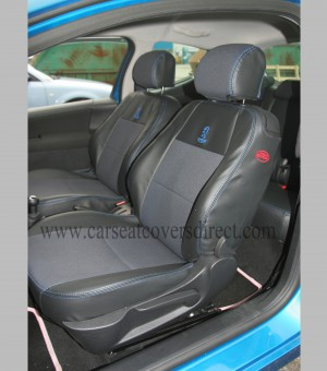 Custom PEUGEOT 207 Black Leatherette With Blue Stitching Seat Covers