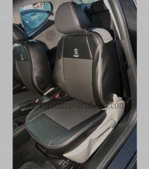 Custom PEUGEOT 207 Black Leatherette Seat Covers With Silver Stitching