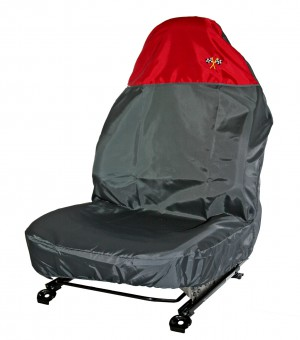 AUDI A6 Polyester Single Seat Protector Grey & Red Flag Logos
