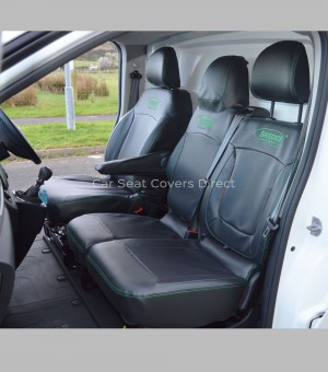 Vauxhall Vivaro Van Black Leatherette Seat Covers with Green Stitching_1