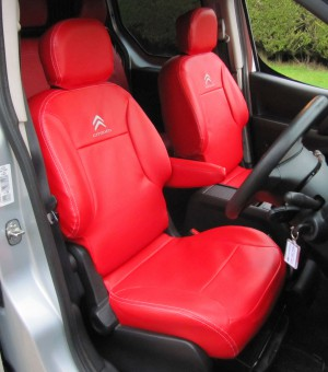 Peugeot Partner Multispace Tailored Waterproof Red Leatherette Van Seat Covers