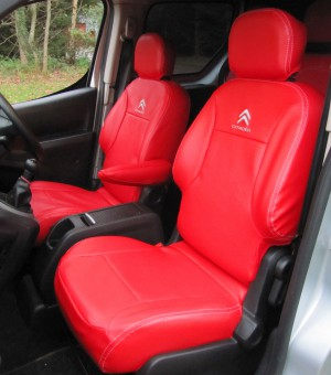 Citroen Berlingo Multispace Tailored Waterproof Red Leatherette Van Seat Covers