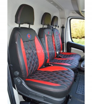 Citroen Relay 3rd Gen (2007-2010) Black and Red Seat Covers