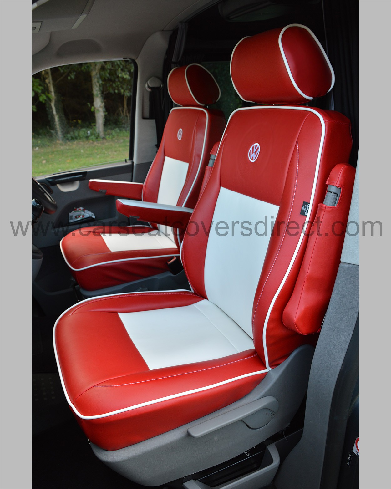 vw t5 seat covers red white leatherette car seat covers direct tailored to your choice. Black Bedroom Furniture Sets. Home Design Ideas
