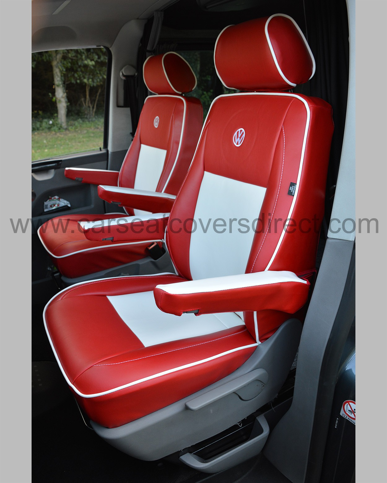 Vw T5 Seat Covers Red Amp White Leatherette Car Seat