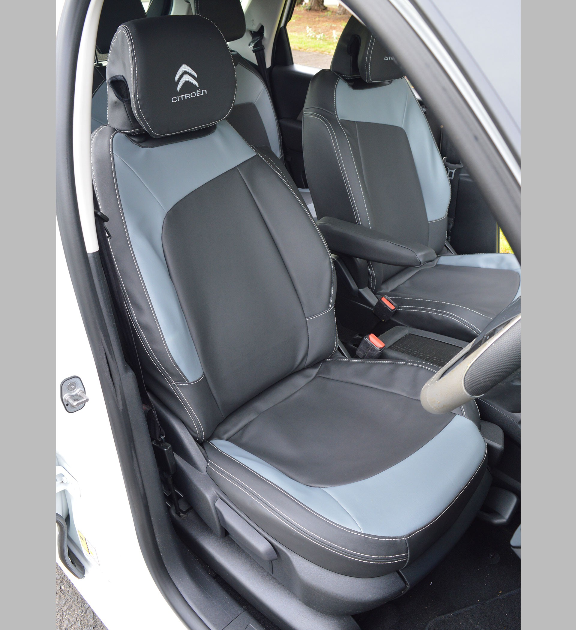 citroen c4 picasso tailored charcoal forli grey leatherette seat covers for 5 seats car seat. Black Bedroom Furniture Sets. Home Design Ideas