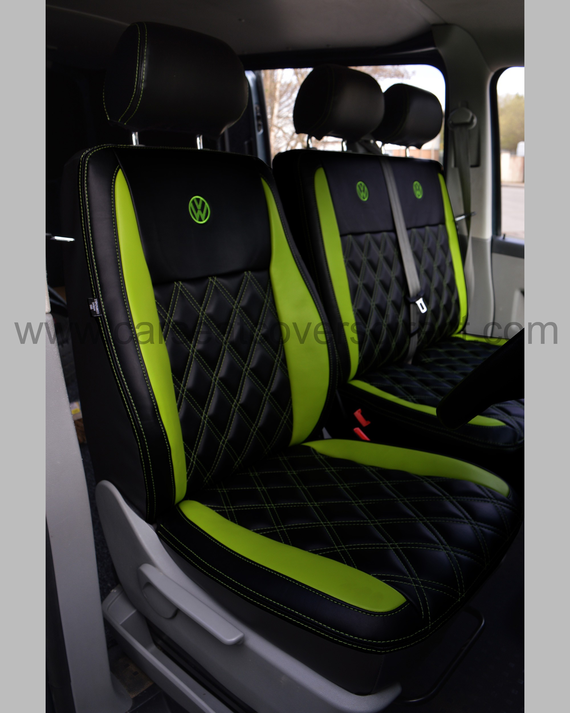VW T5 Seat Covers - Black & Green Car Seat Covers Direct ...