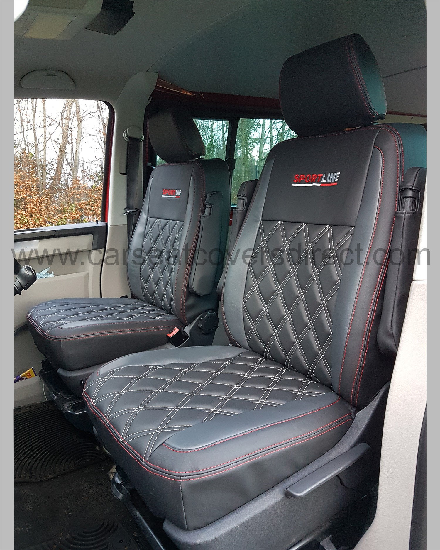 vw transporter t5 kombi seat covers charcoal grey with diamonds crew cab car seat covers. Black Bedroom Furniture Sets. Home Design Ideas