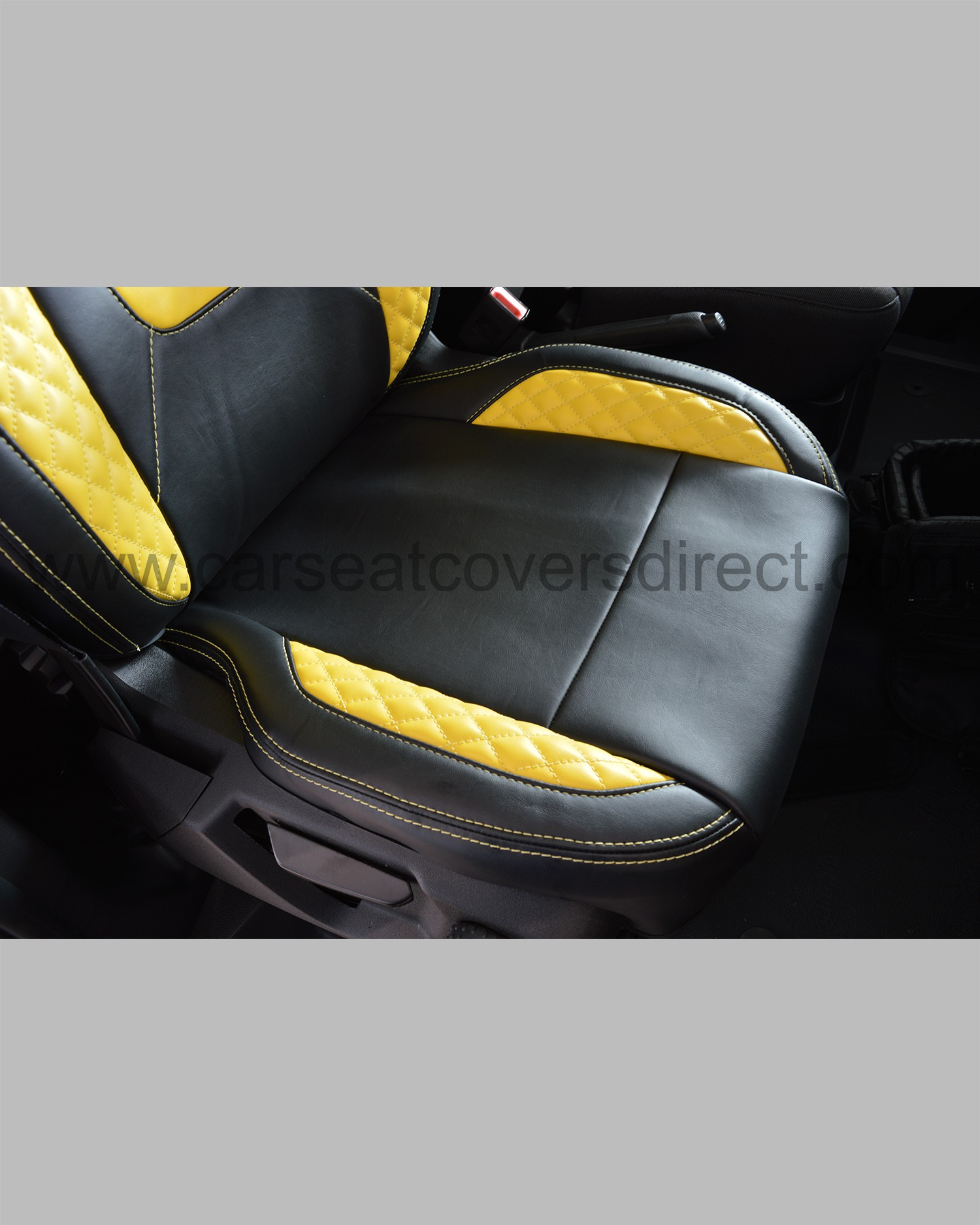 Ford Transit Custom Seat Covers - Black with Yellow Car Seat Covers Direct - Tailored To Your Choice