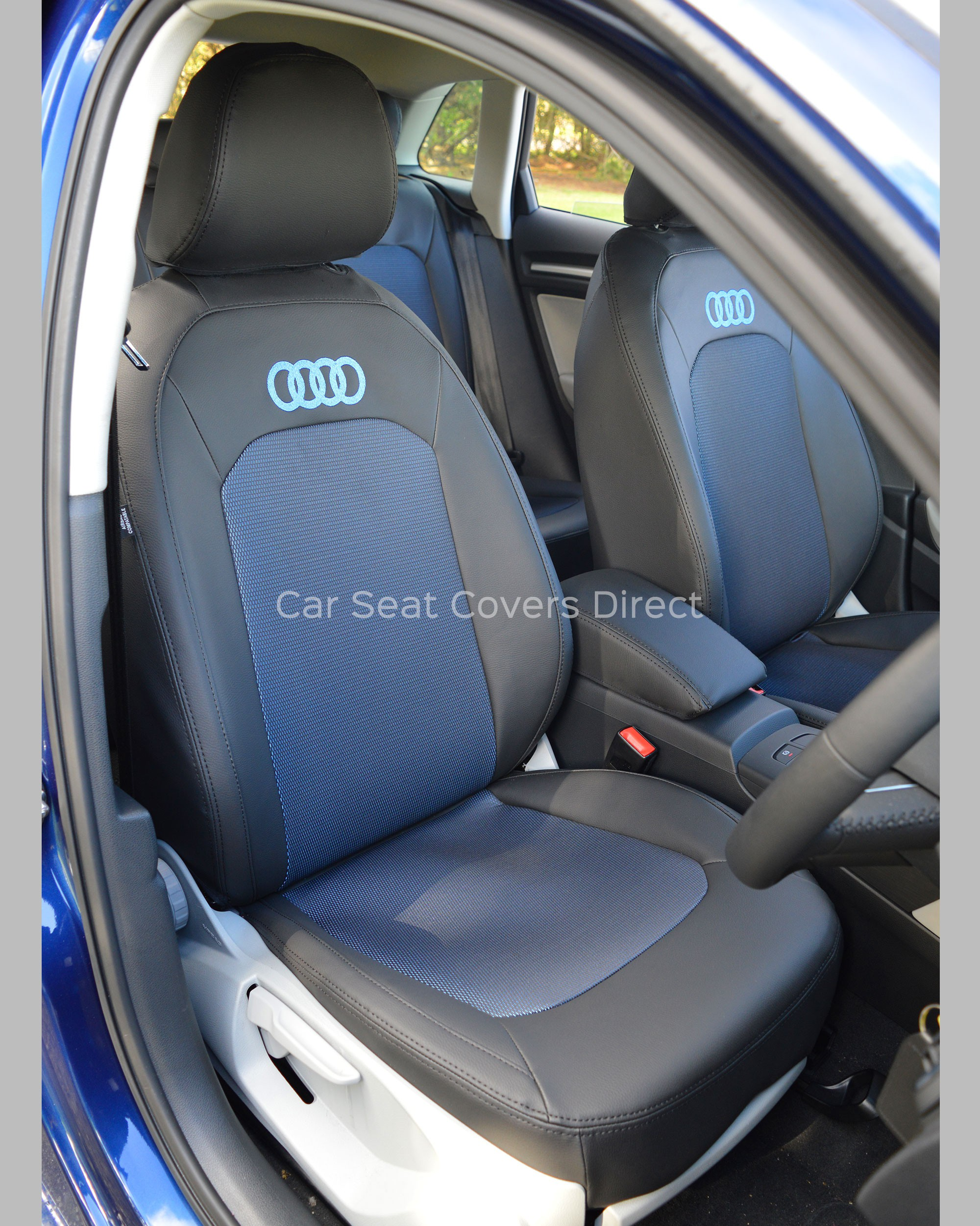 Superb Audi A3 Tailored Car Seat Covers Black Lazer Blue Centres With Logos Gamerscity Chair Design For Home Gamerscityorg