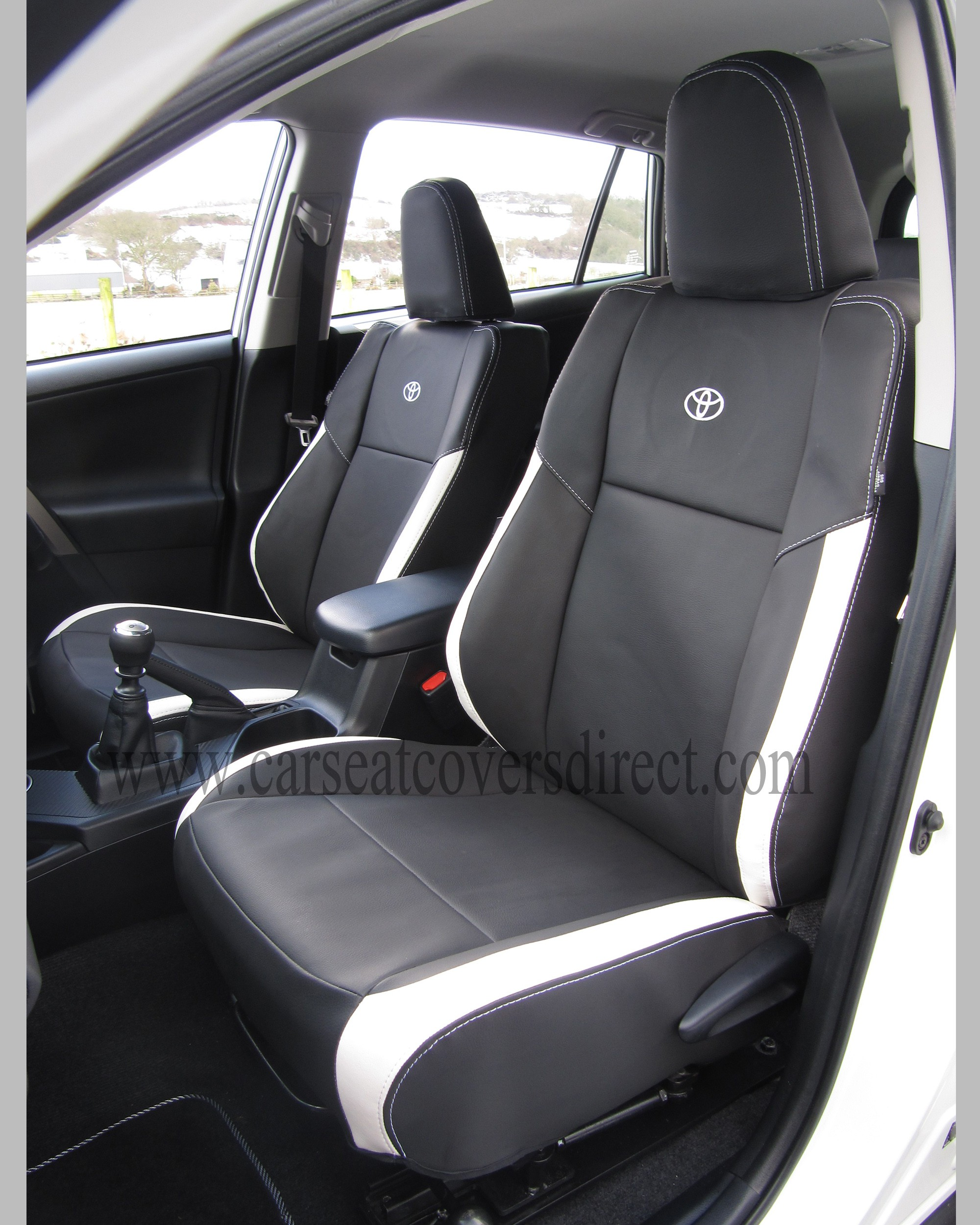 toyota rav4 seat covers black white leatherette 4th generations car seat covers direct. Black Bedroom Furniture Sets. Home Design Ideas