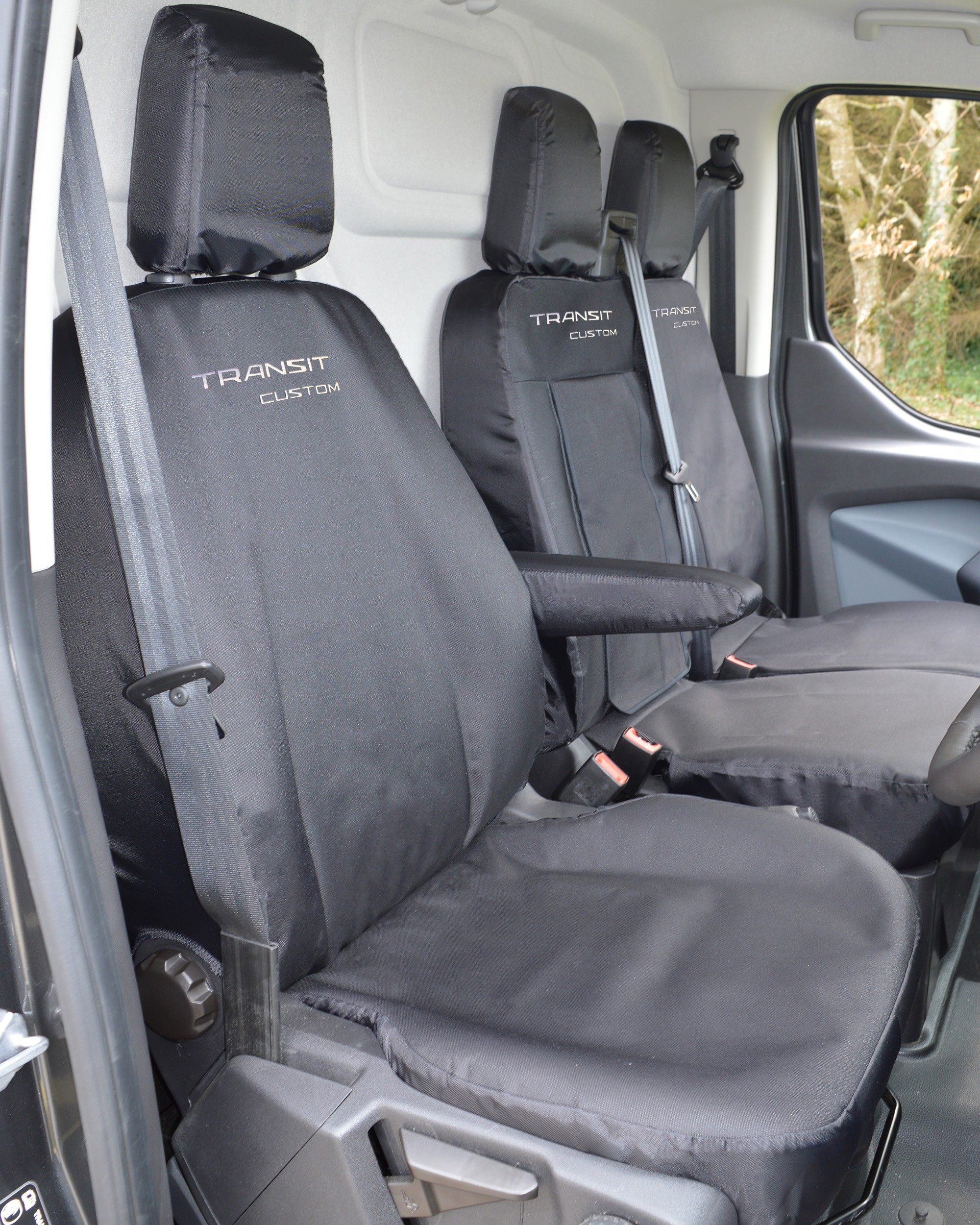 Grey Ford Transit Custom Tailored Van Seat Covers Heavy Duty Waterproof 2013-ON