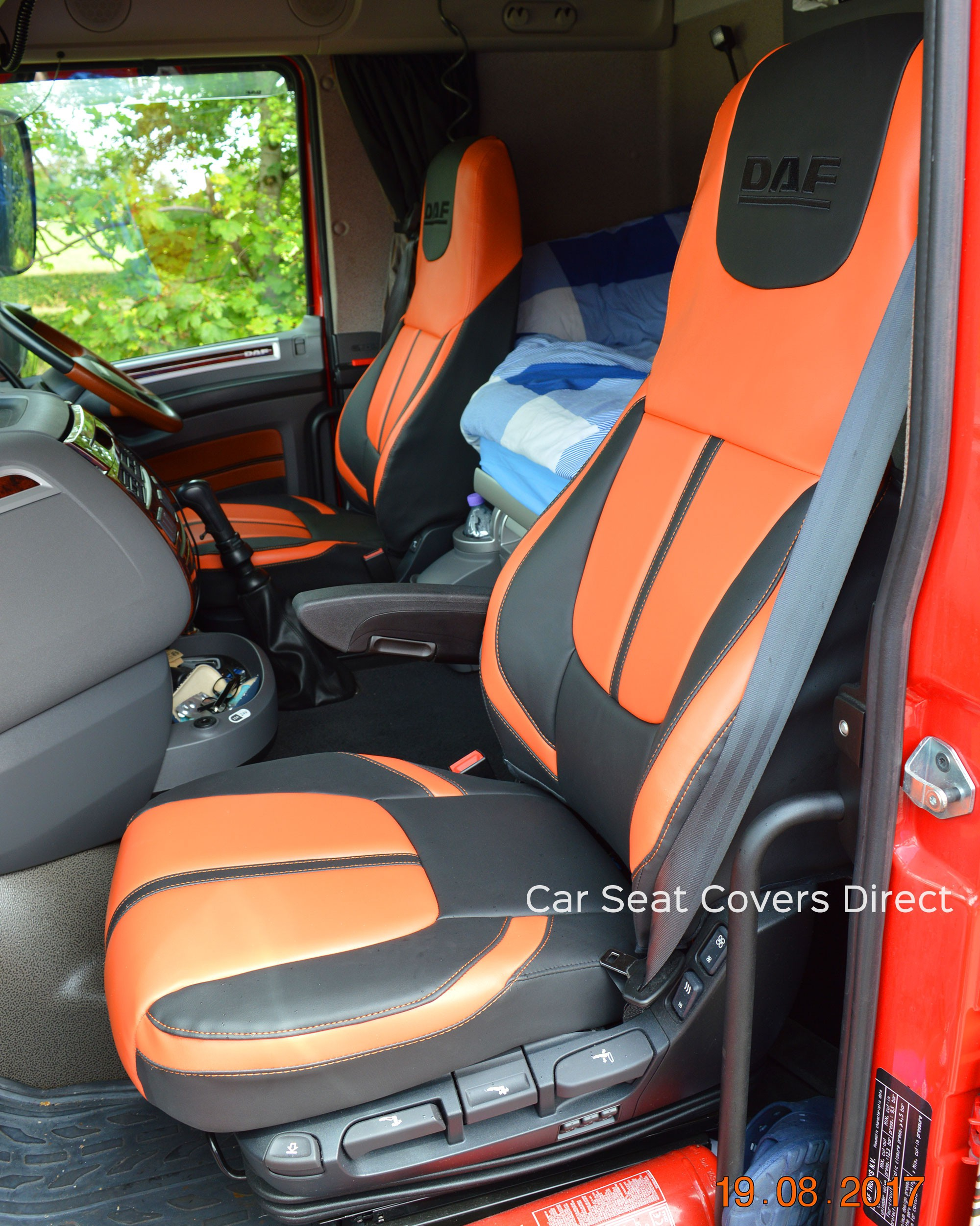 Custom Leather Seat Covers >> DAF XF Truck Seat Covers - Orange Edition