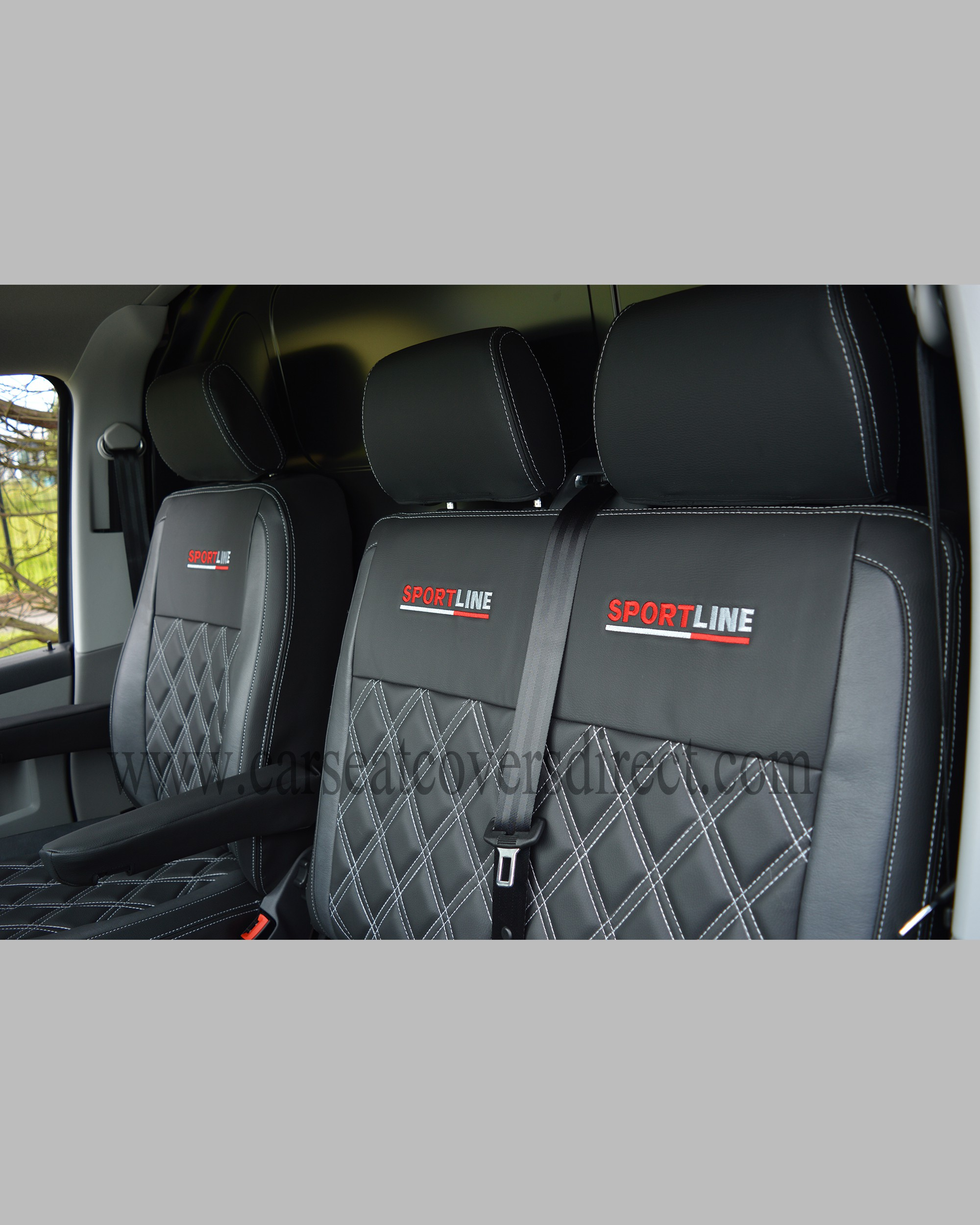 VW Transporter T5 Seat Covers - Black & Pewter Grey w ...