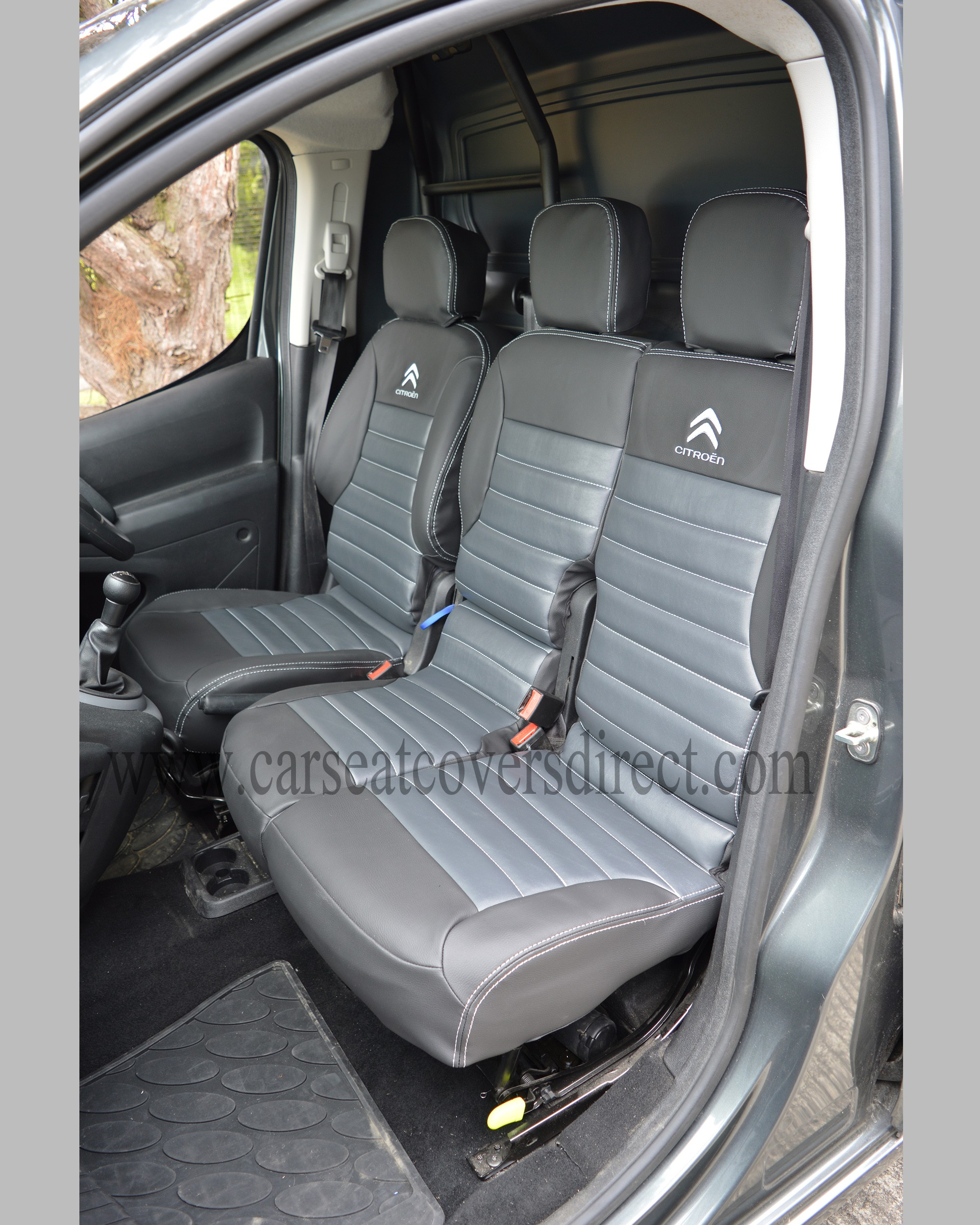 citroen berlingo tailored quilted seat covers charcoal pewter grey logos car seat covers. Black Bedroom Furniture Sets. Home Design Ideas