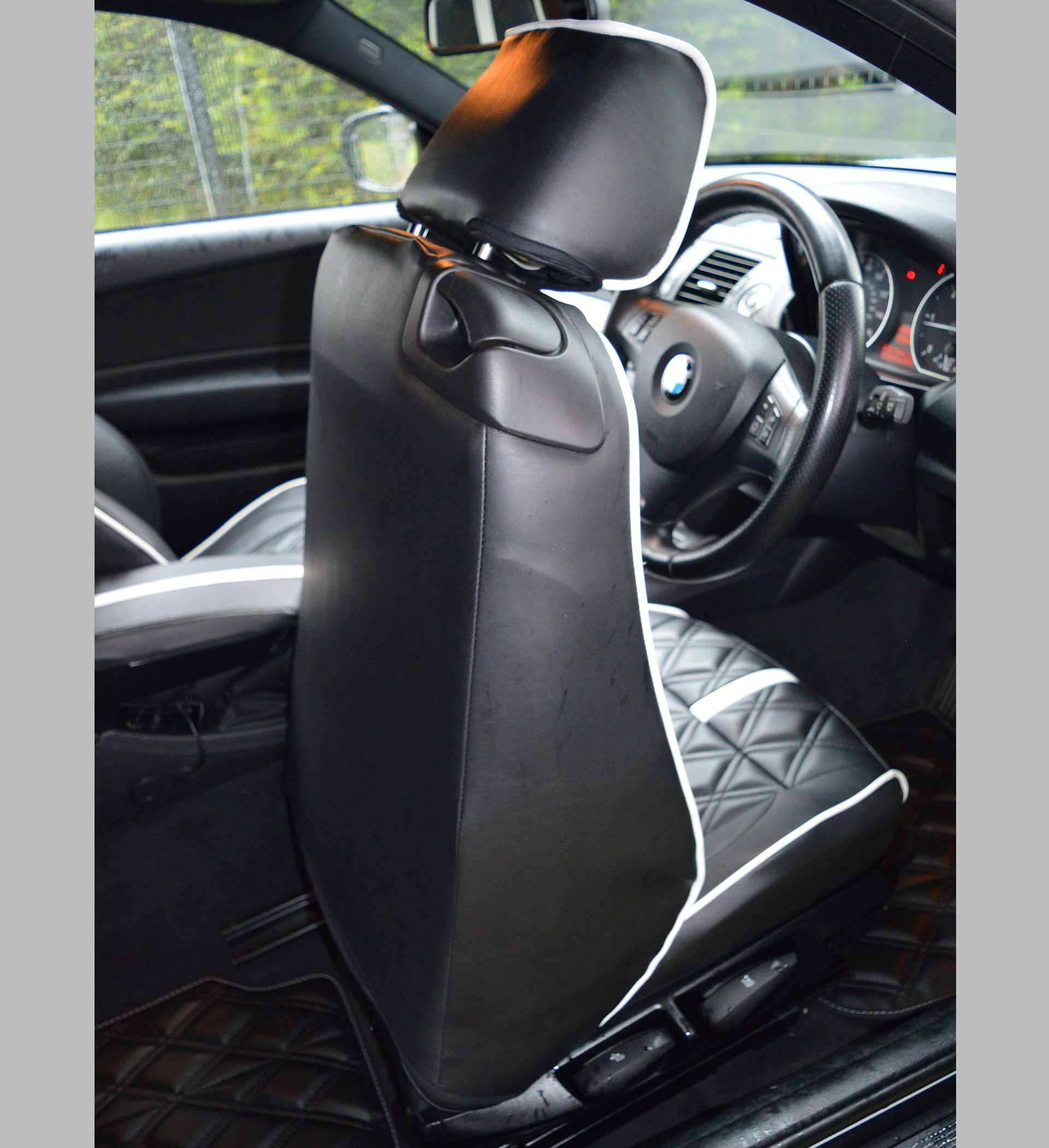 bmw 1 series 3 series car seat covers dark anthracite cloth 2. Black Bedroom Furniture Sets. Home Design Ideas