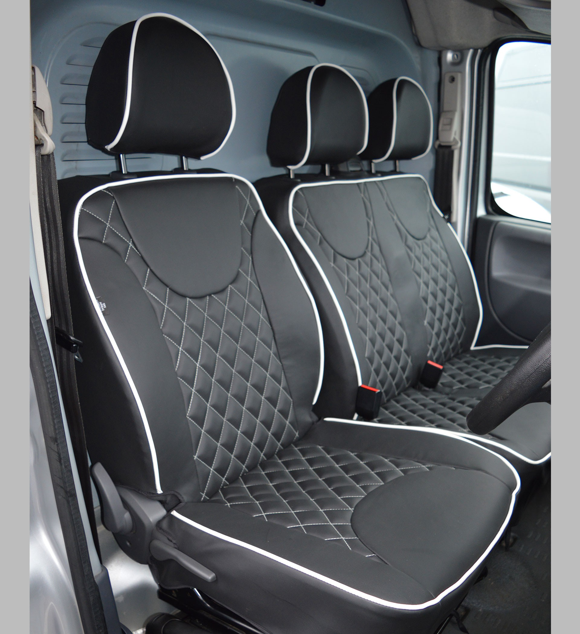 Van Seat Covers >> Citroen Dispatch Diamond Quilted Leather Look Tailored Van Seat Covers