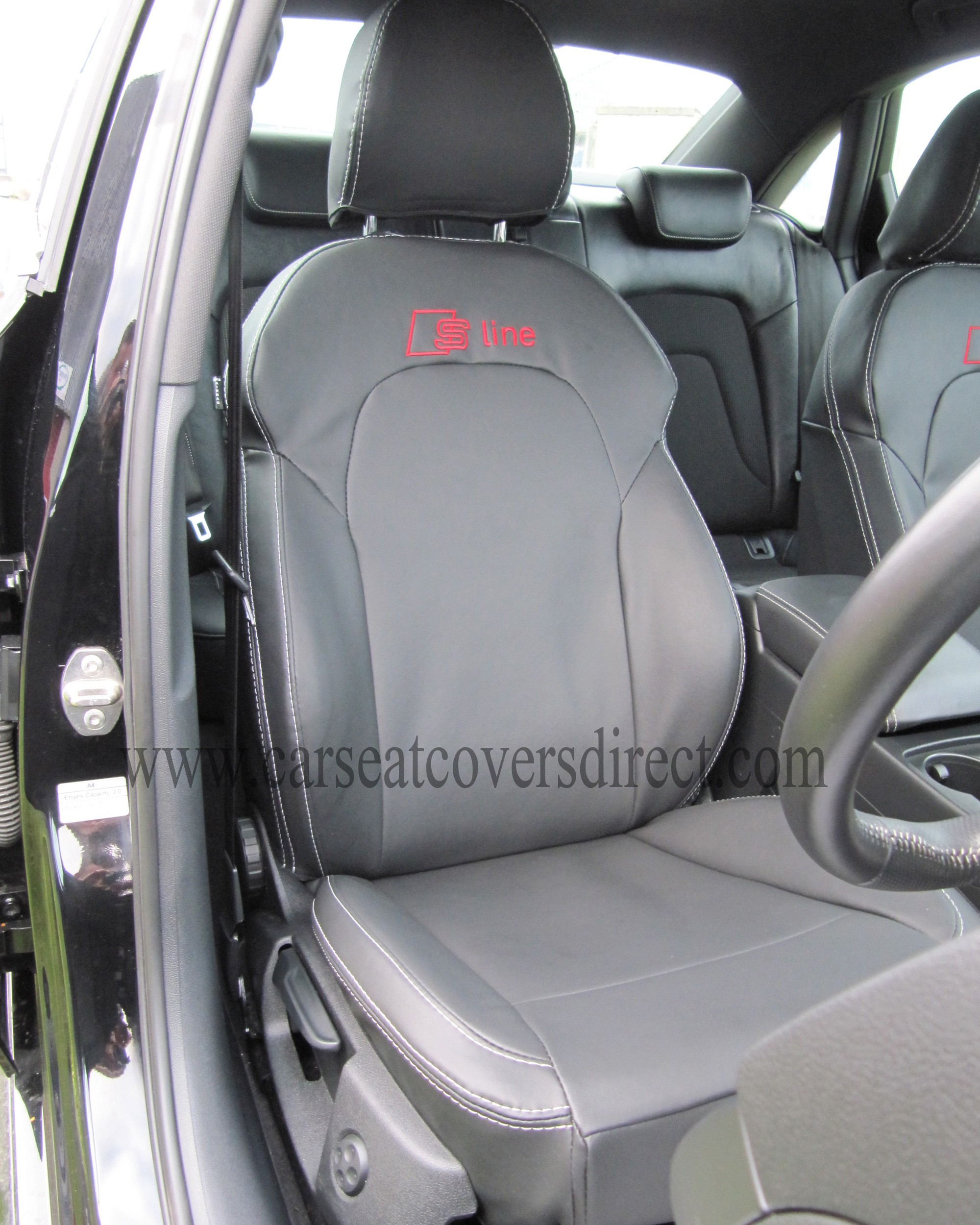 audi a4 seat covers black with s line logo car seat. Black Bedroom Furniture Sets. Home Design Ideas