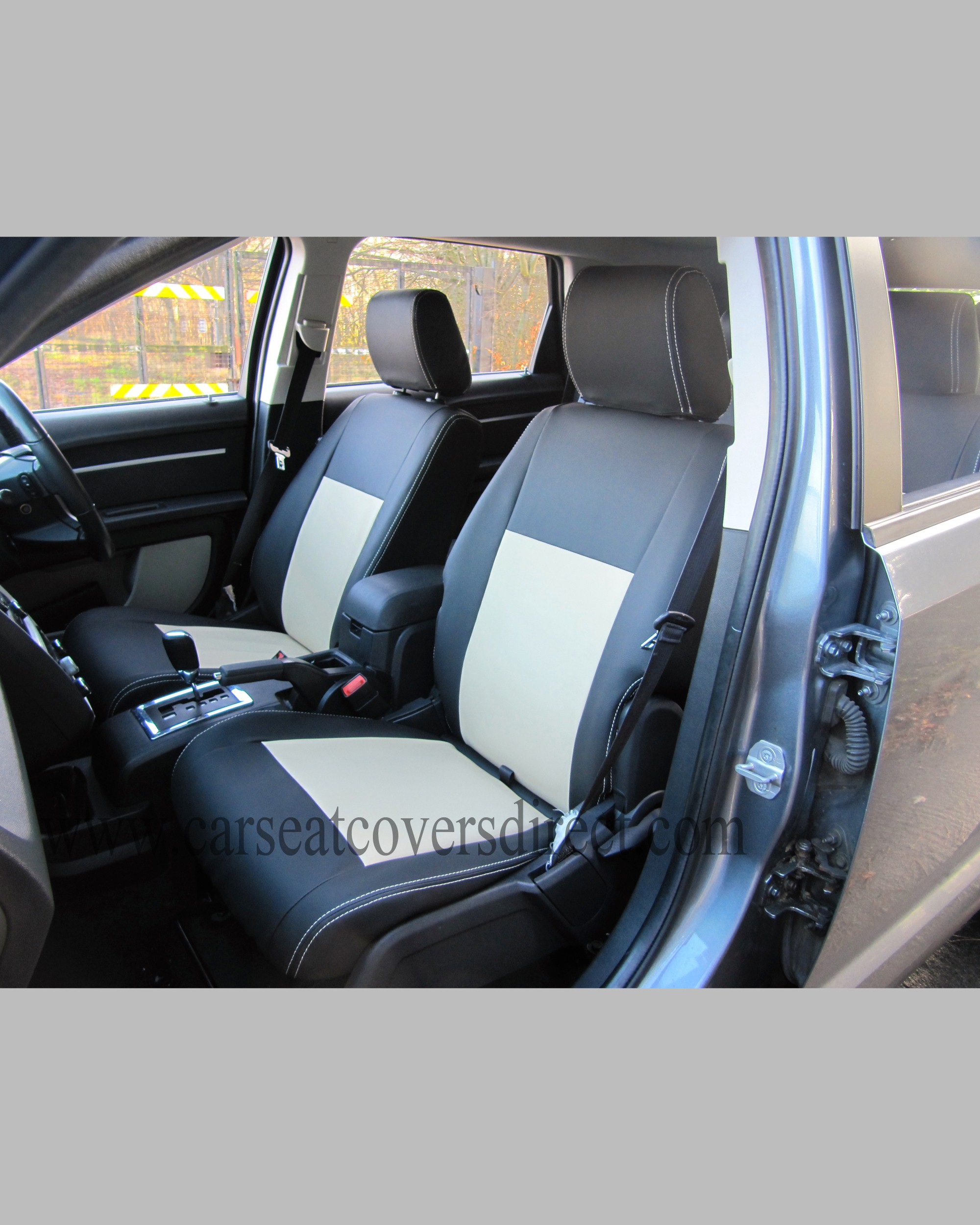 custom car seat cocers dodge journey charcoal leatherette sides beige centers and beige. Black Bedroom Furniture Sets. Home Design Ideas