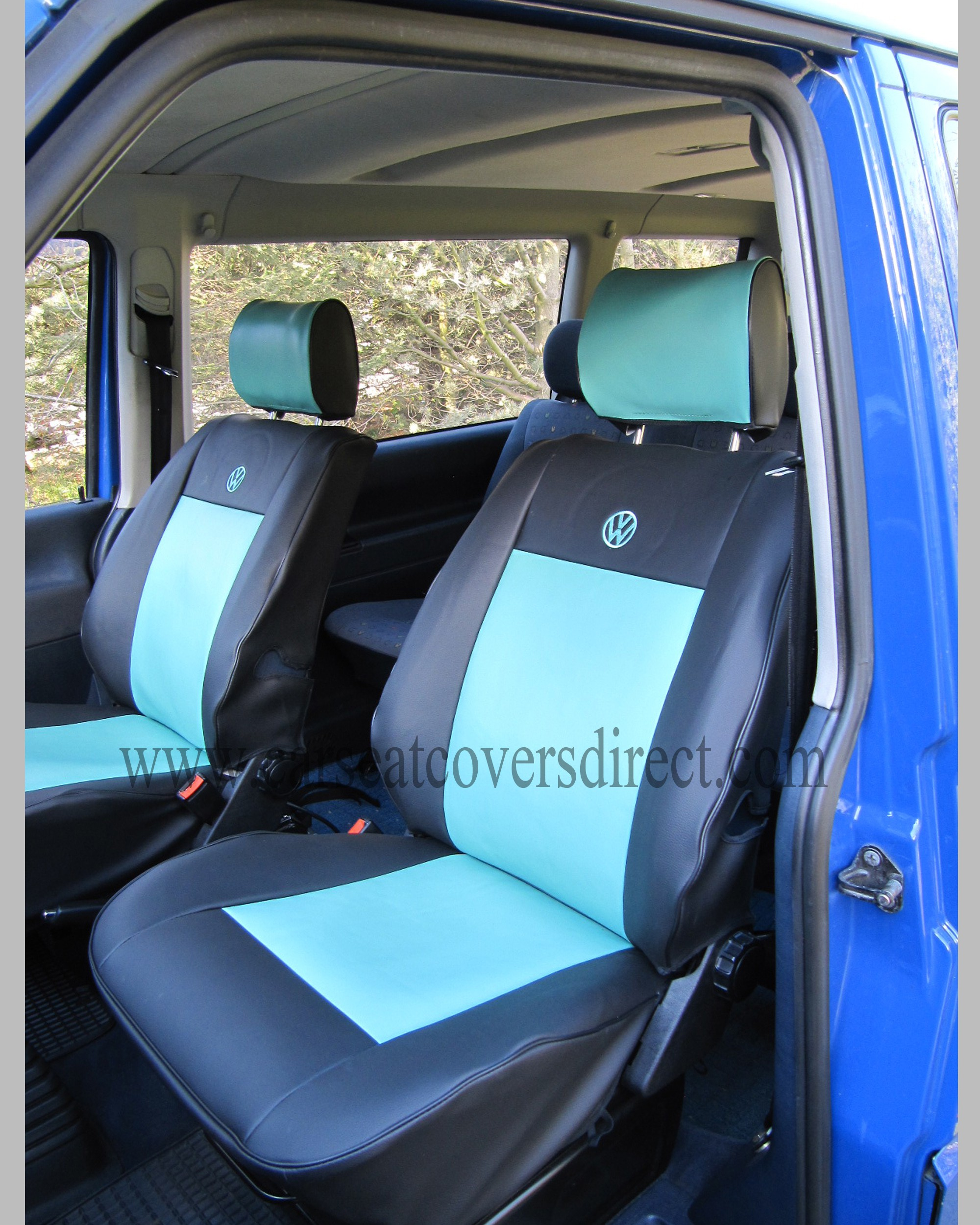 VW T4 Seat Covers - Blue & Black Car Seat Covers Direct - Tailored To Your Choice