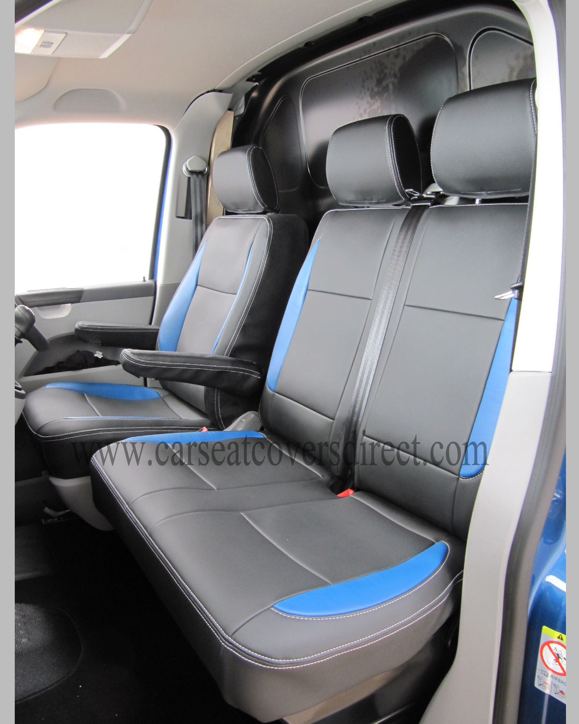 Volkswagen Vw Transporter T5 Black And Blue Seat Covers