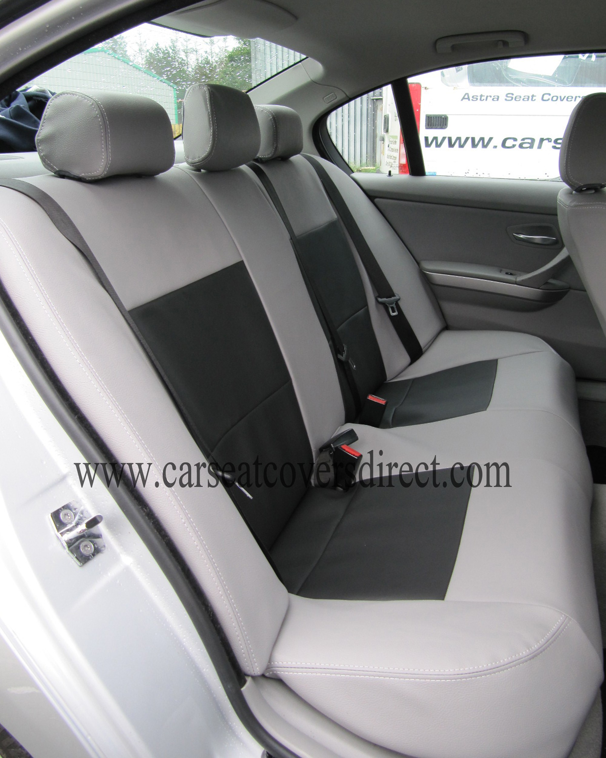 BMW Seat Belt Cover >> BMW 3 SERIES E90 Grey & Black Seat Covers