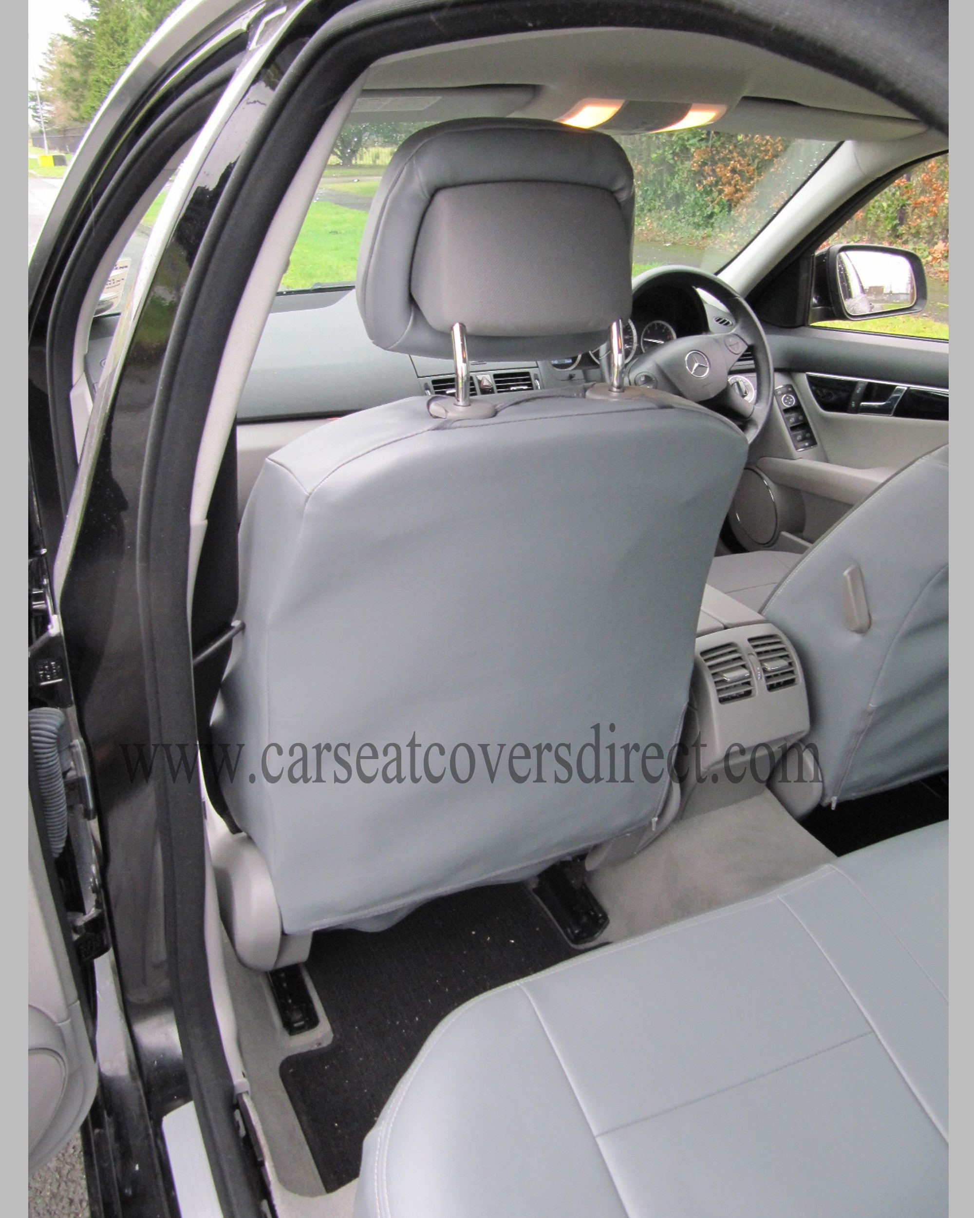 Mercedes c class w204 grey leatherette seat covers car for Mercedes benz original seat covers