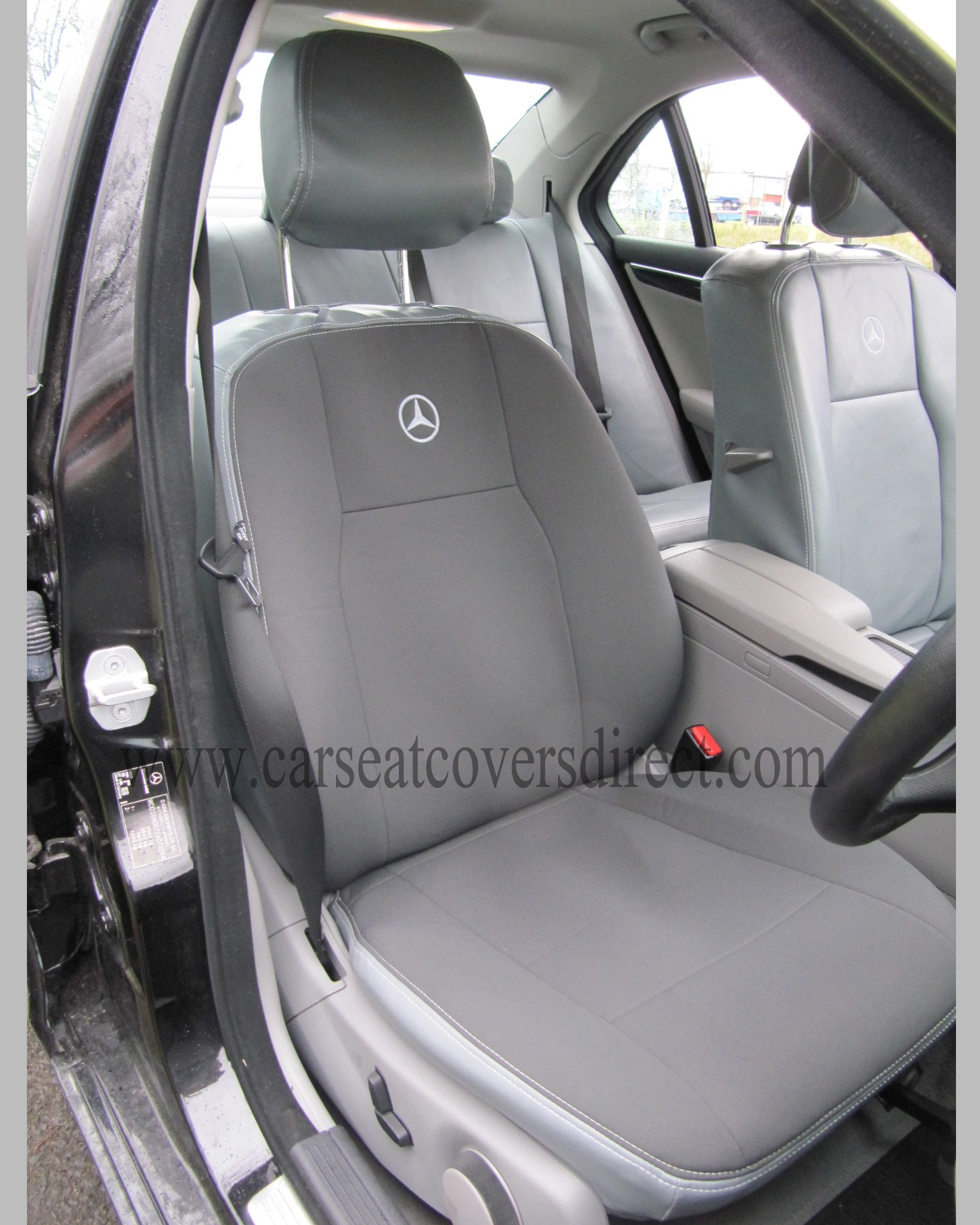 Mercedes c class w204 grey leatherette seat covers car for Mercedes benz ml350 seat covers