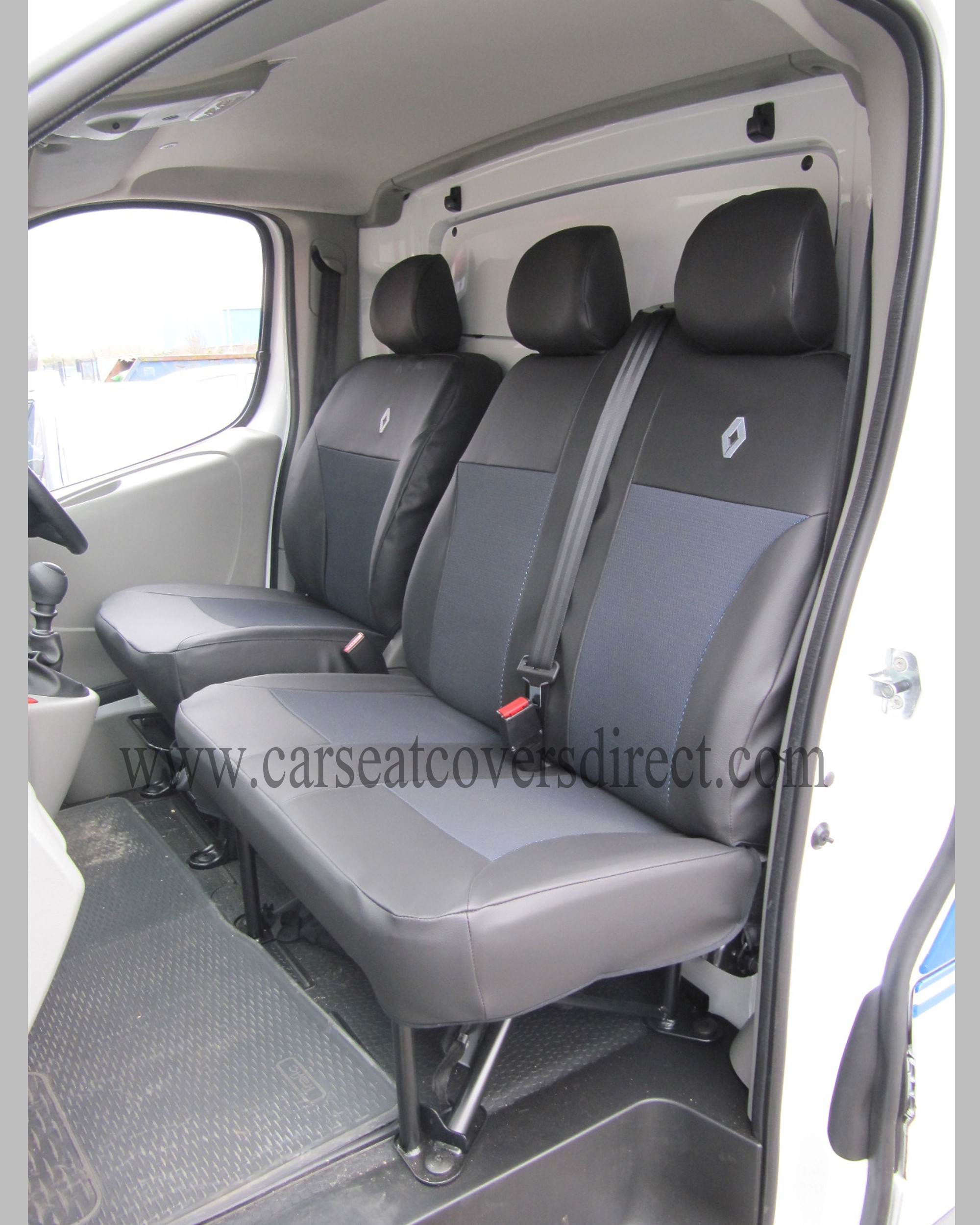 BRAND NEW Waterproof Black Custom Van SEAT COVERS RENAULT TRAFIC 02-ON