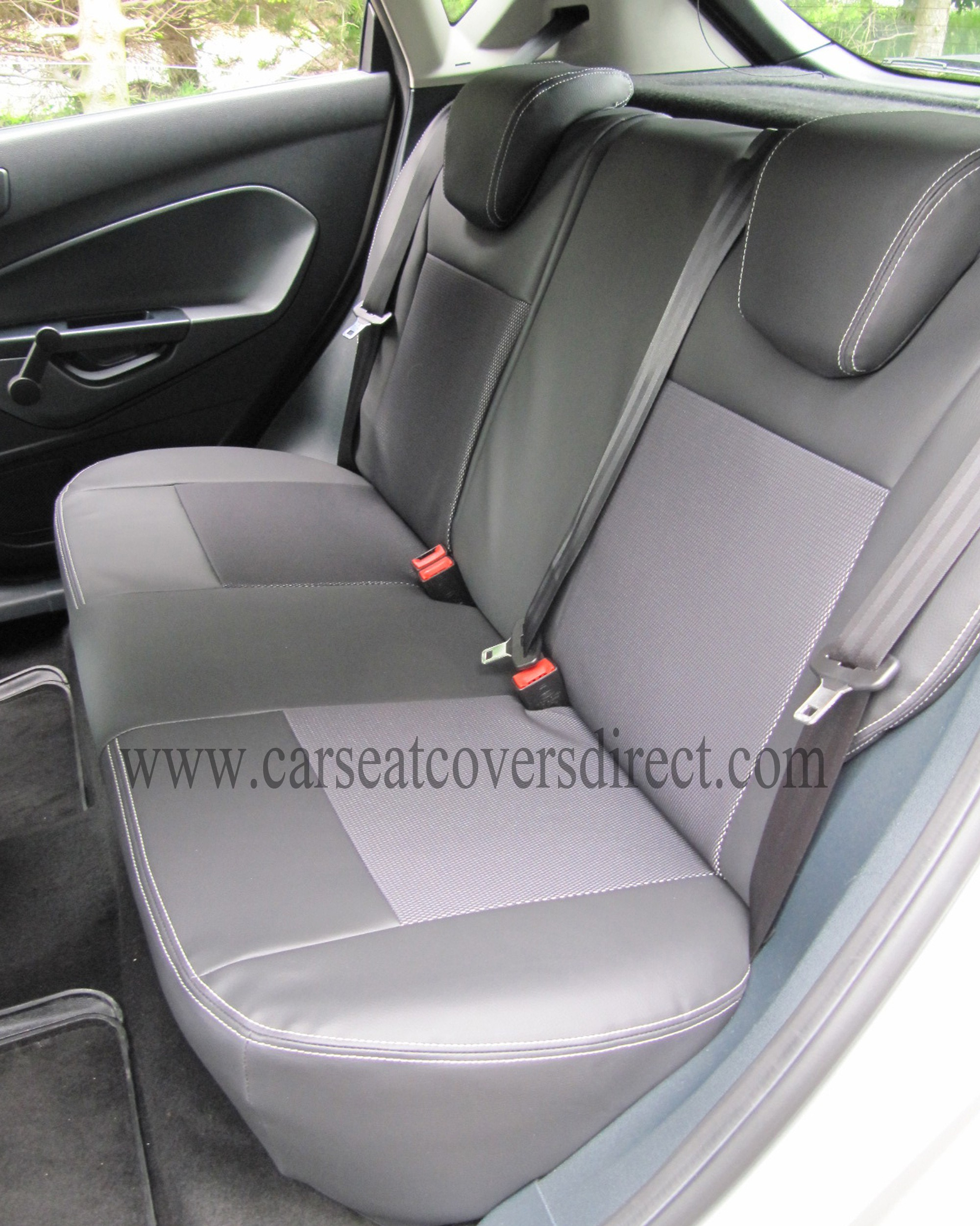 ford fiesta seat covers black leatherette with cloth centres car seat covers direct tailored. Black Bedroom Furniture Sets. Home Design Ideas
