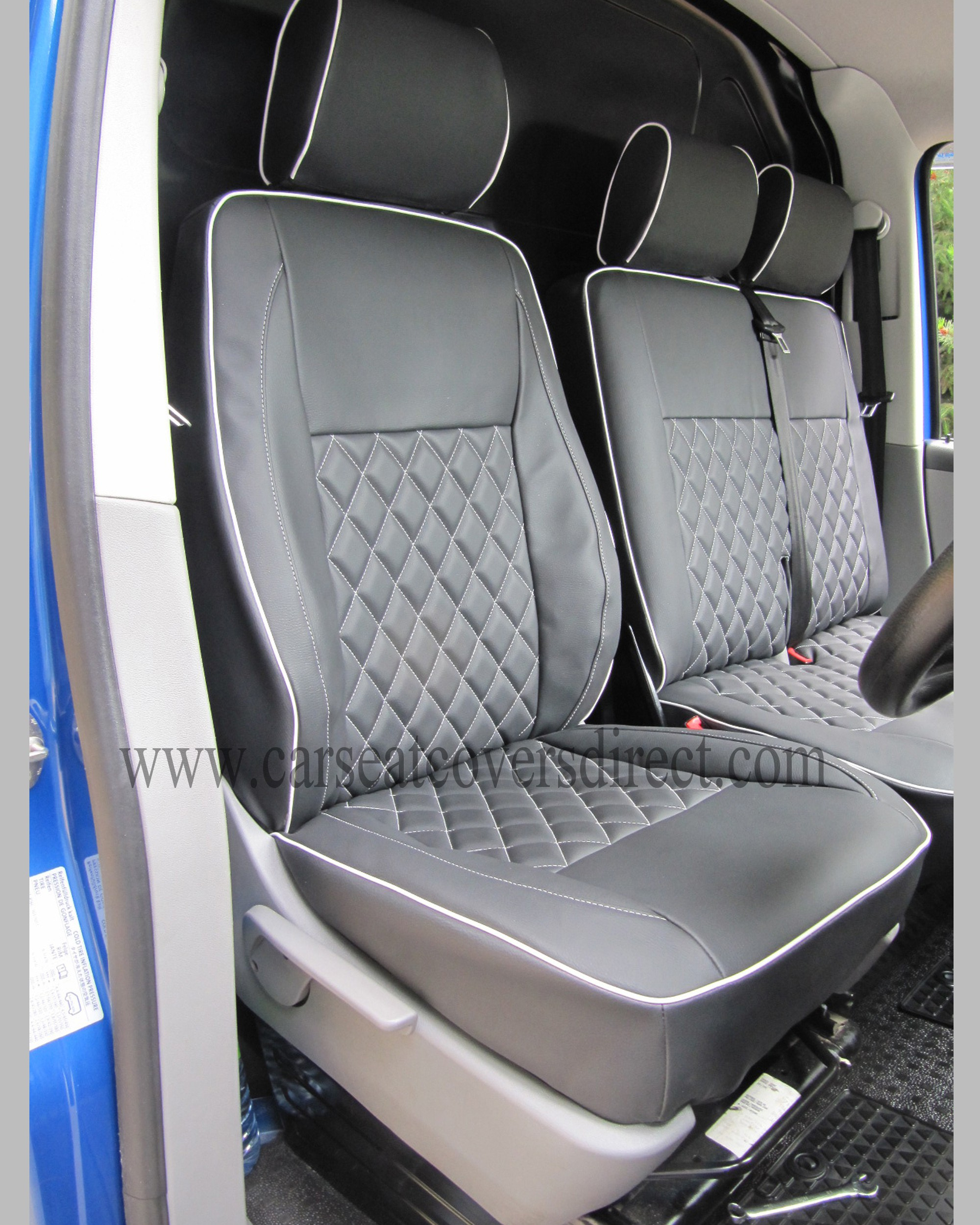 Front Seats With Black Grey Diamond Stitched Seat Cover
