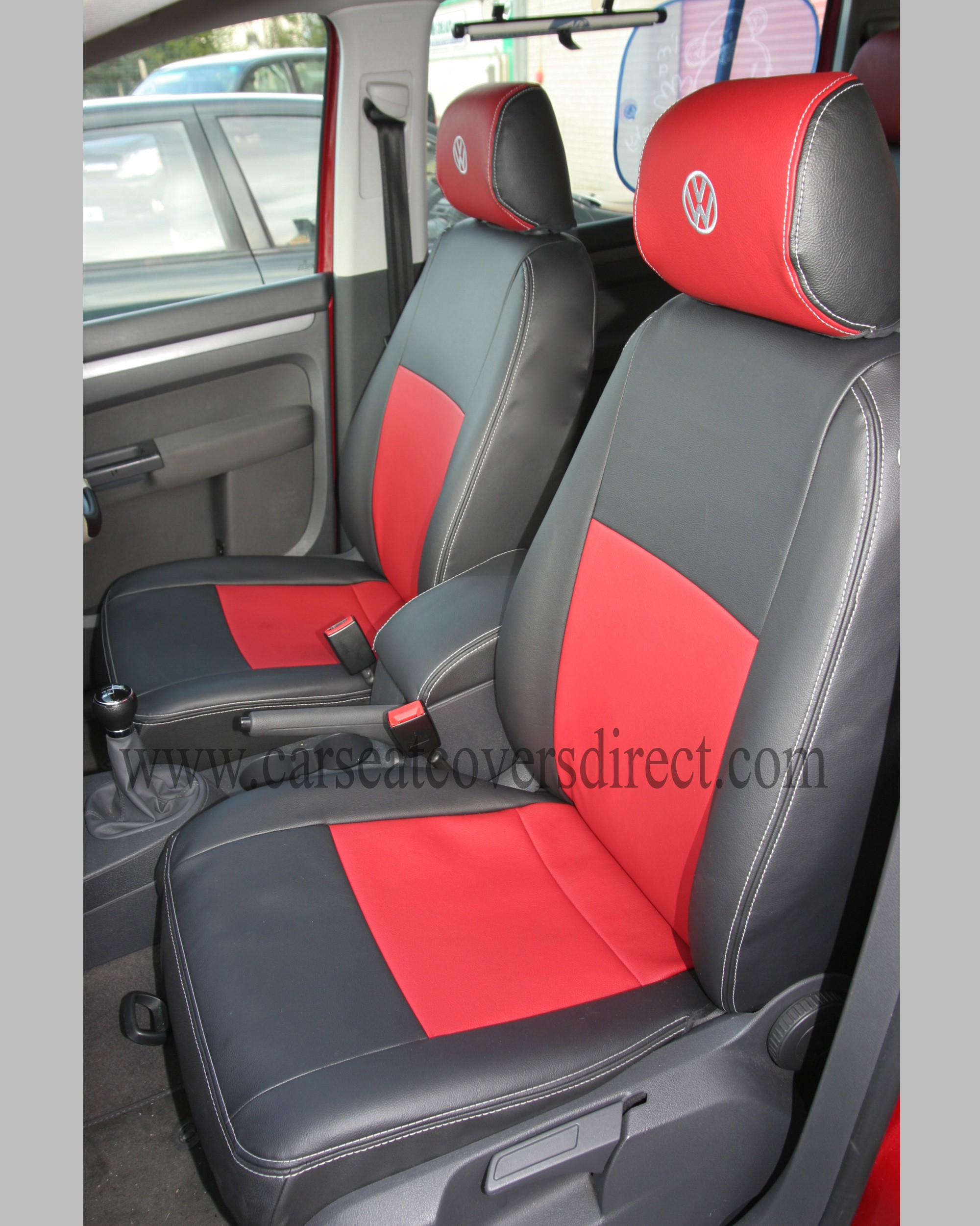 volkswagen vw touran black red seat covers 7 seats custom tailored seat covers car seat. Black Bedroom Furniture Sets. Home Design Ideas