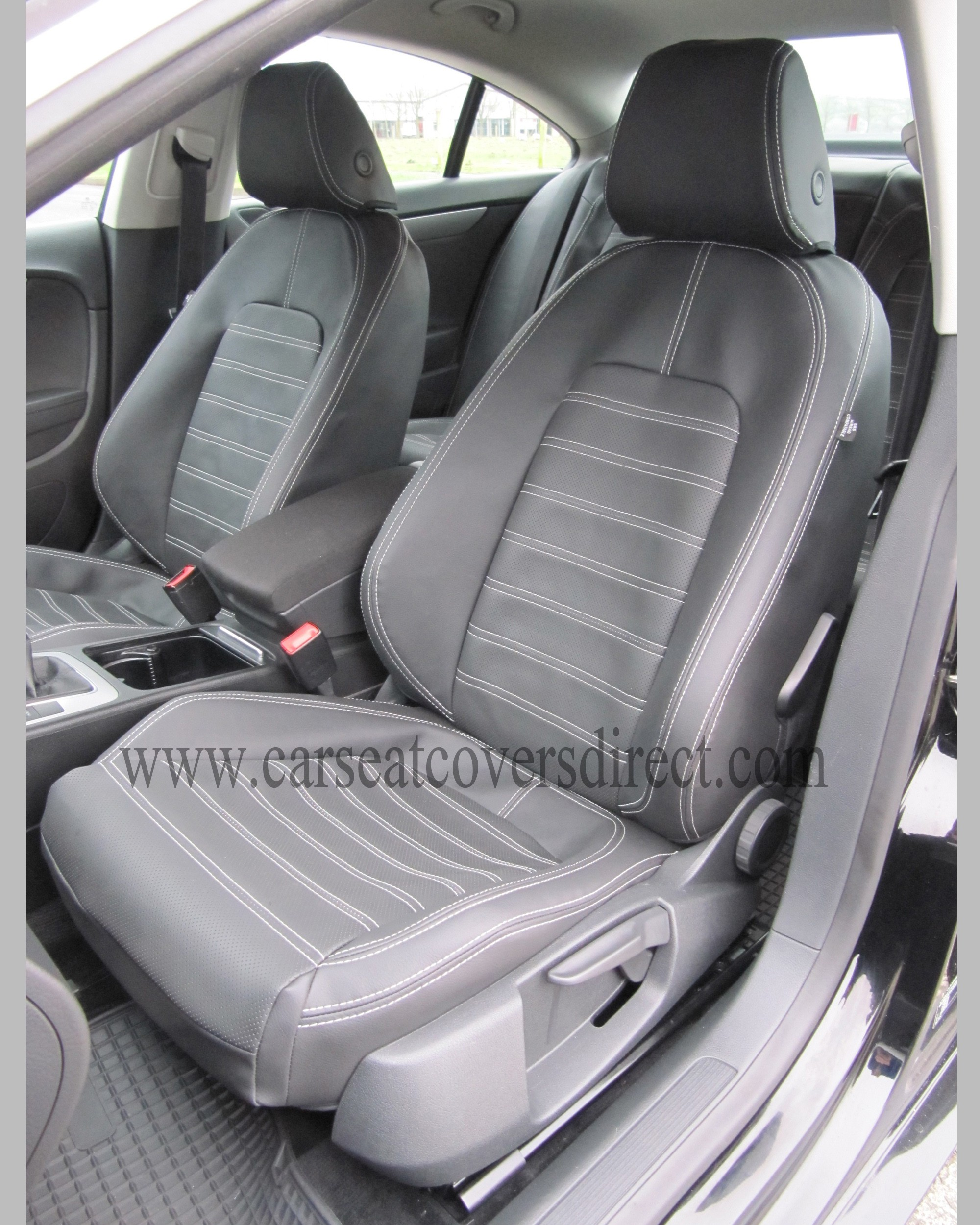 volkswagen vw passat cc seat covers charcoal leatherette foam backing custom car seat covers. Black Bedroom Furniture Sets. Home Design Ideas