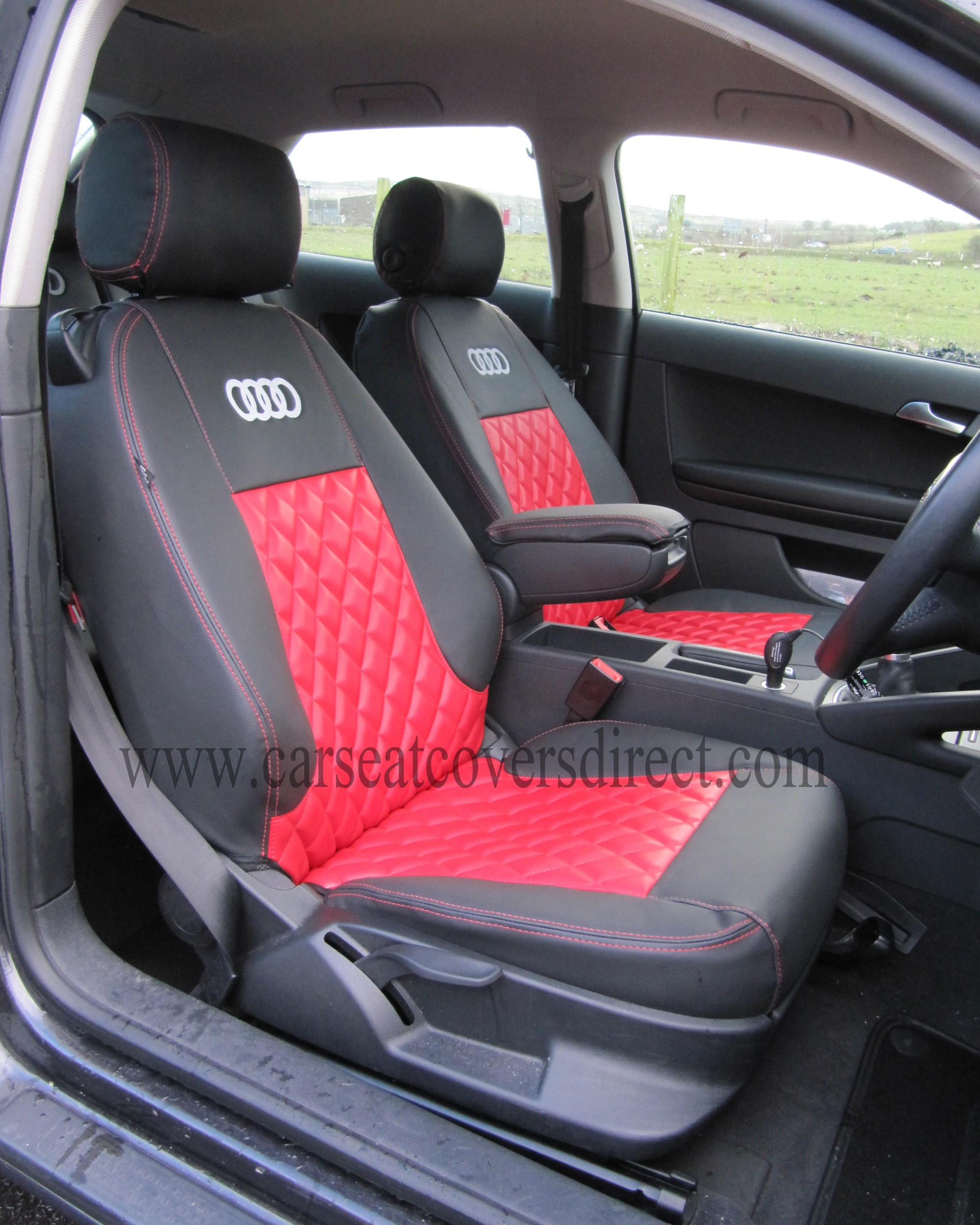 Audi A3 Seat Covers Black Amp Red With Diamond Stitching