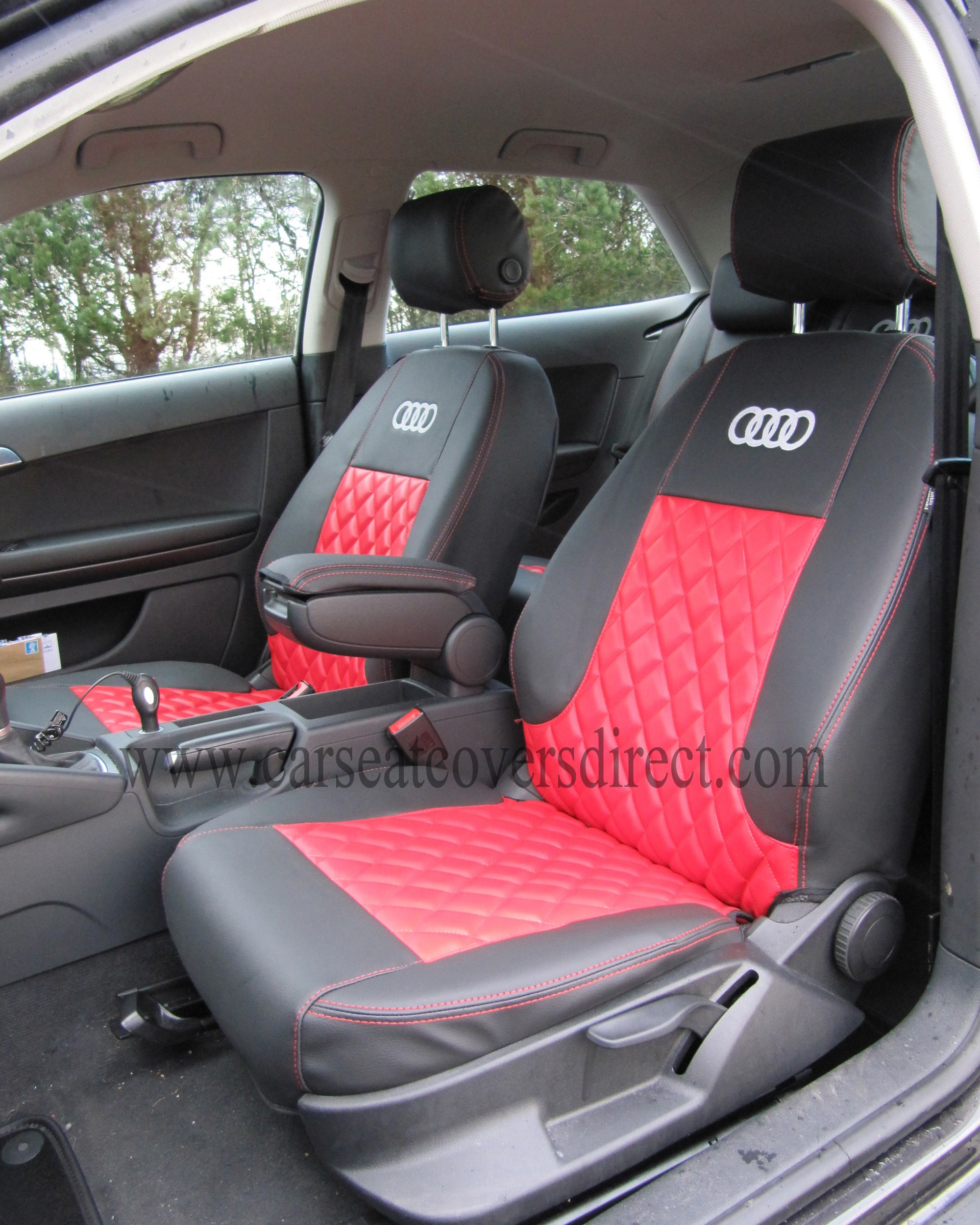 Audi A3 Car Mats >> Audi A3 Seat Covers - Black & Red With Diamond Stitching