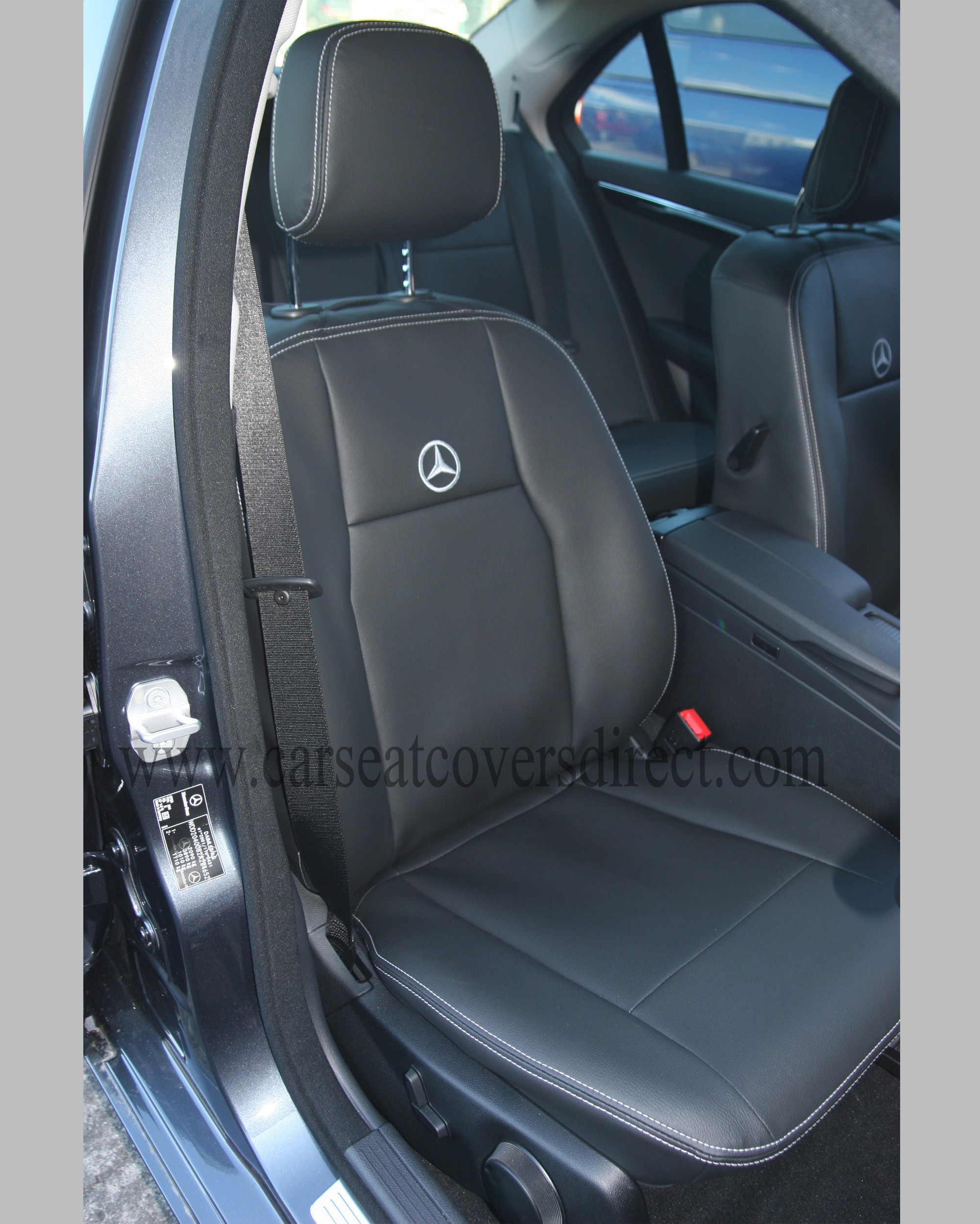 mercedes c class w204 black leatherette seat covers custom car seat covers custom tailored. Black Bedroom Furniture Sets. Home Design Ideas