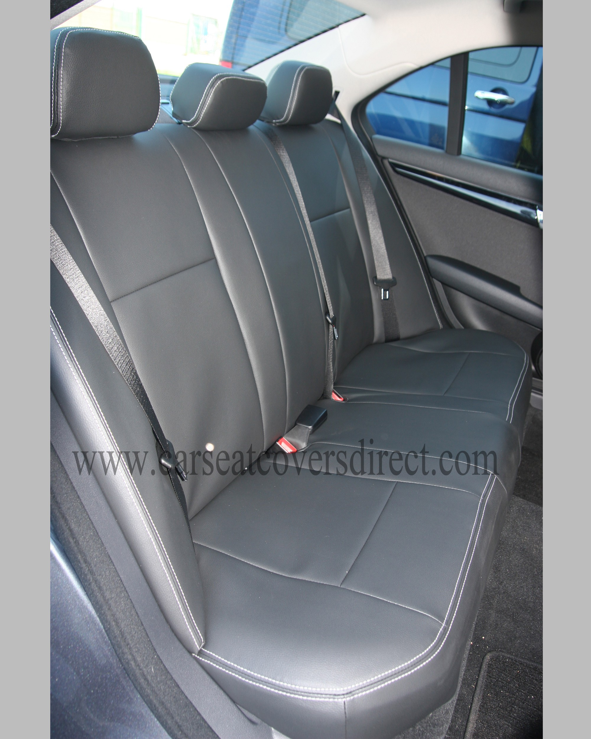 Mercedes c class w204 black leatherette seat covers for Mercedes benz original seat covers