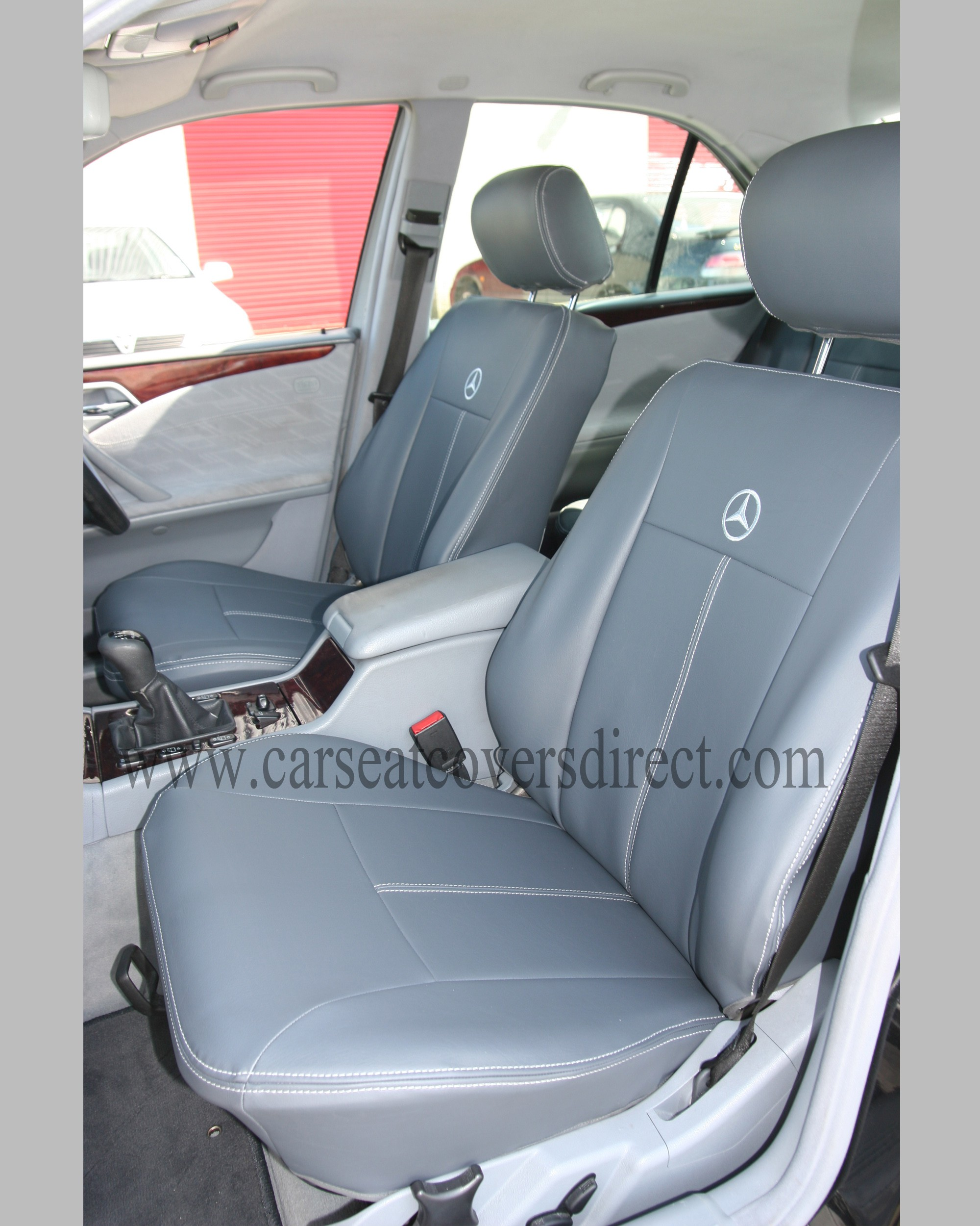 Mercedes e class w210 grey leatherette seat covers car for Mercedes benz e350 car cover