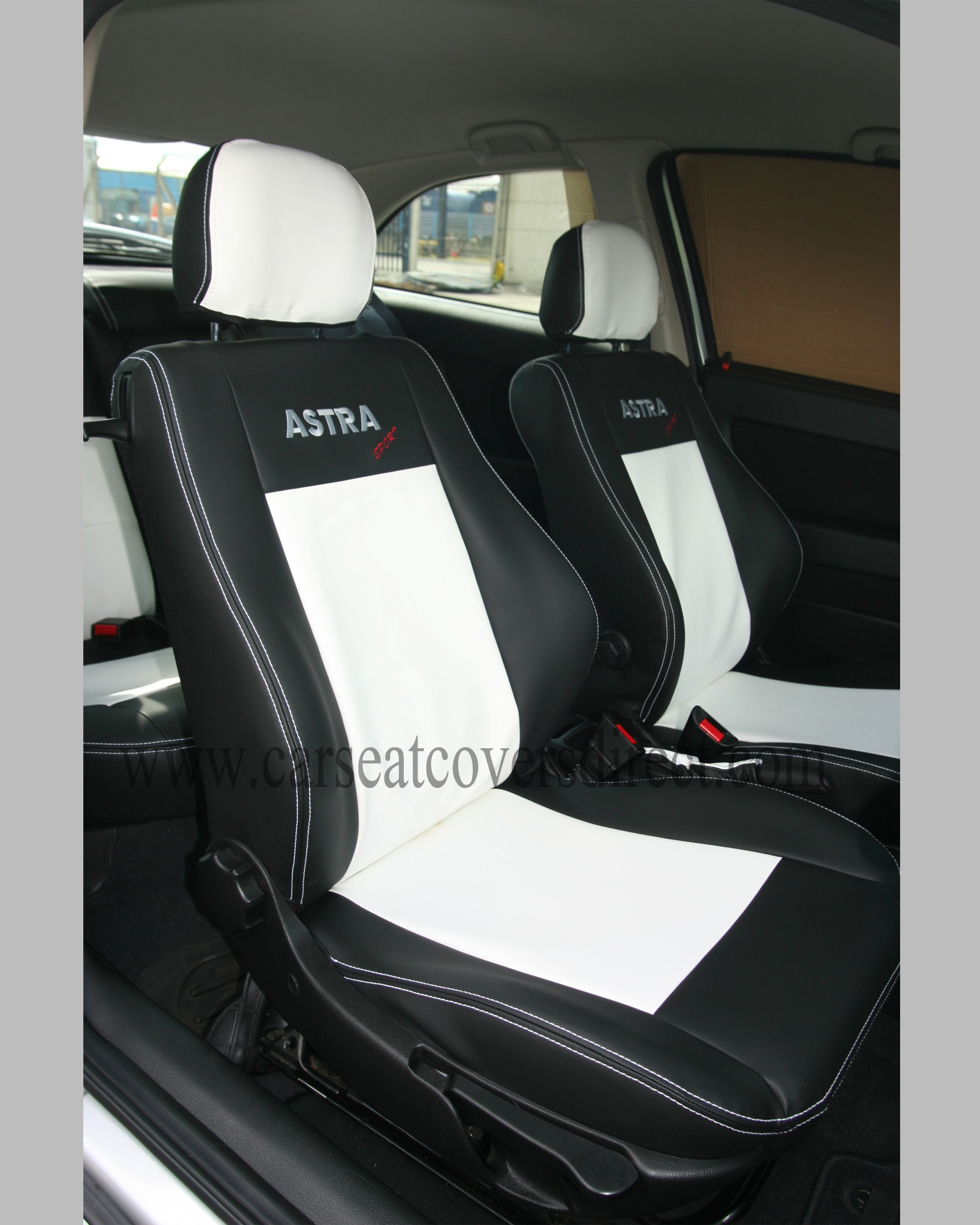 Opel Astra G Black White Seat Covers