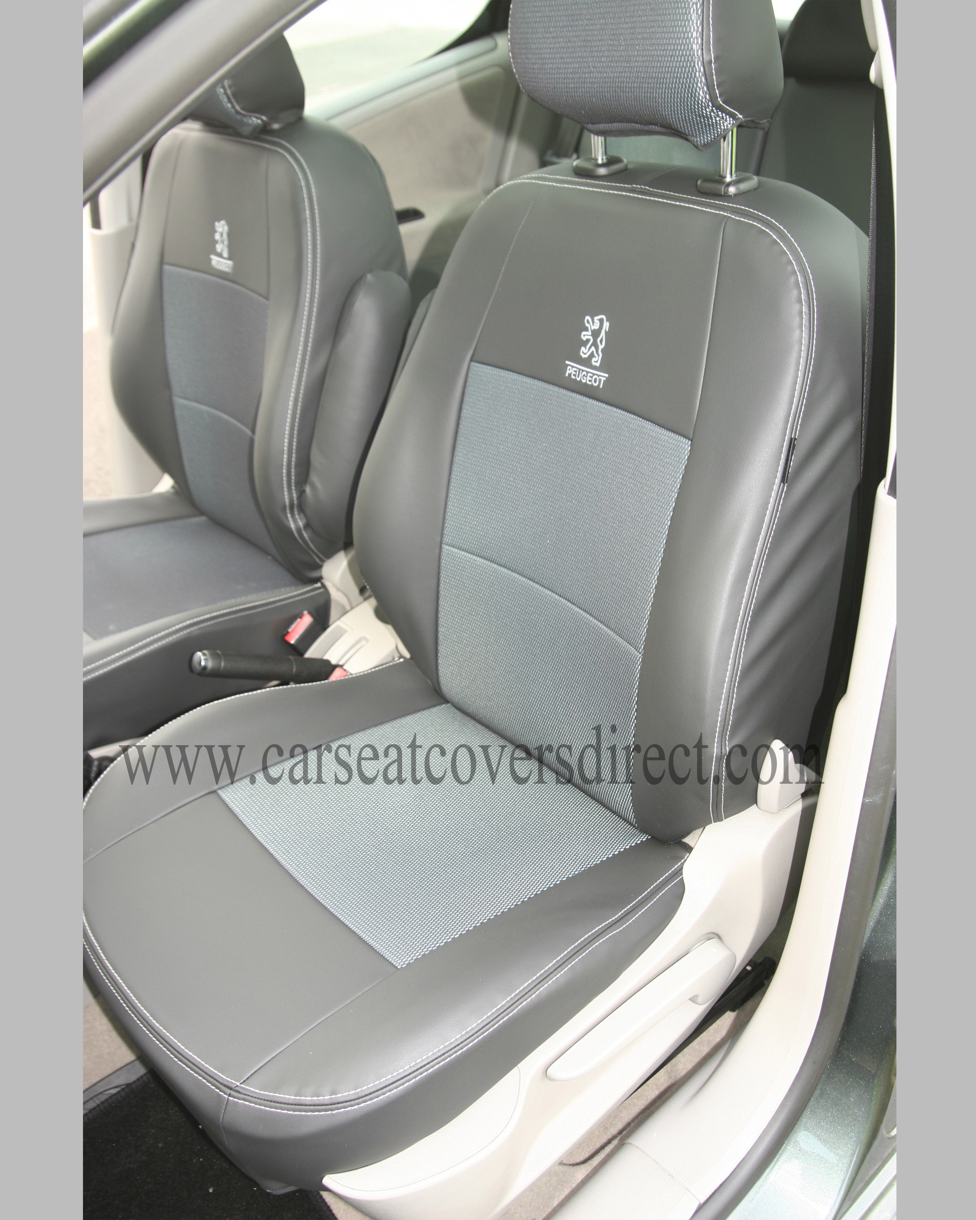 Custom PEUGEOT 307 Black Leatherette Seat Covers With Cloth Centres ...