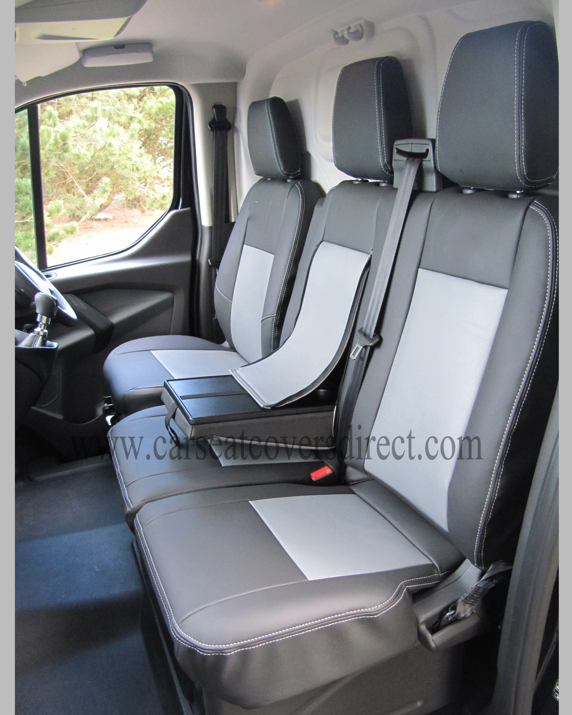 Toyota Seat Covers >> FORD TRANSIT Custom 6TH GEN Black & Grey van seat covers Car Seat Covers Direct - Tailored To ...