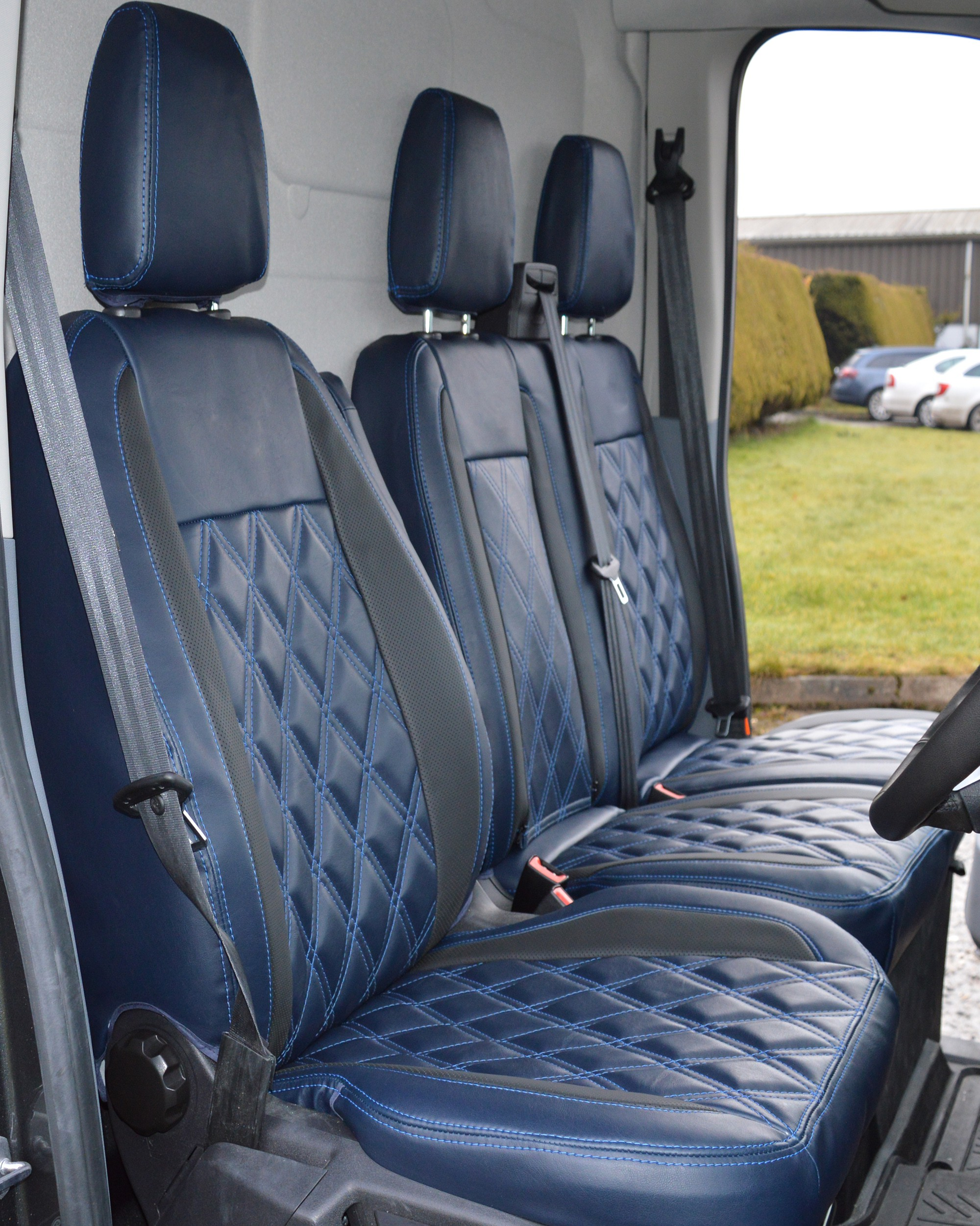 Seat Covers Blue Black Fabric Tailored To Fit Ford Transit Custom