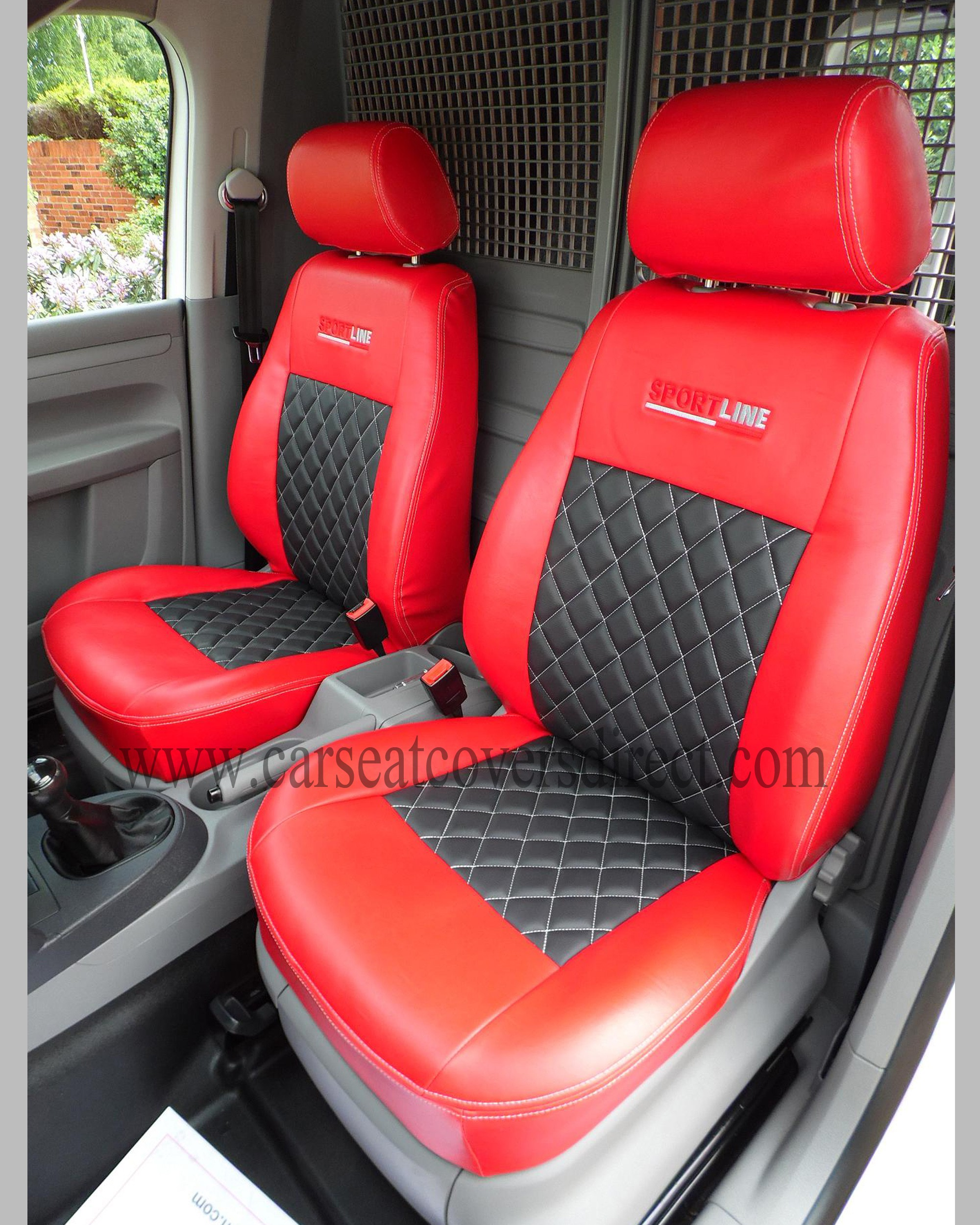 VOLKSWAGEN VW CADDY Red Amp Black Seat Covers
