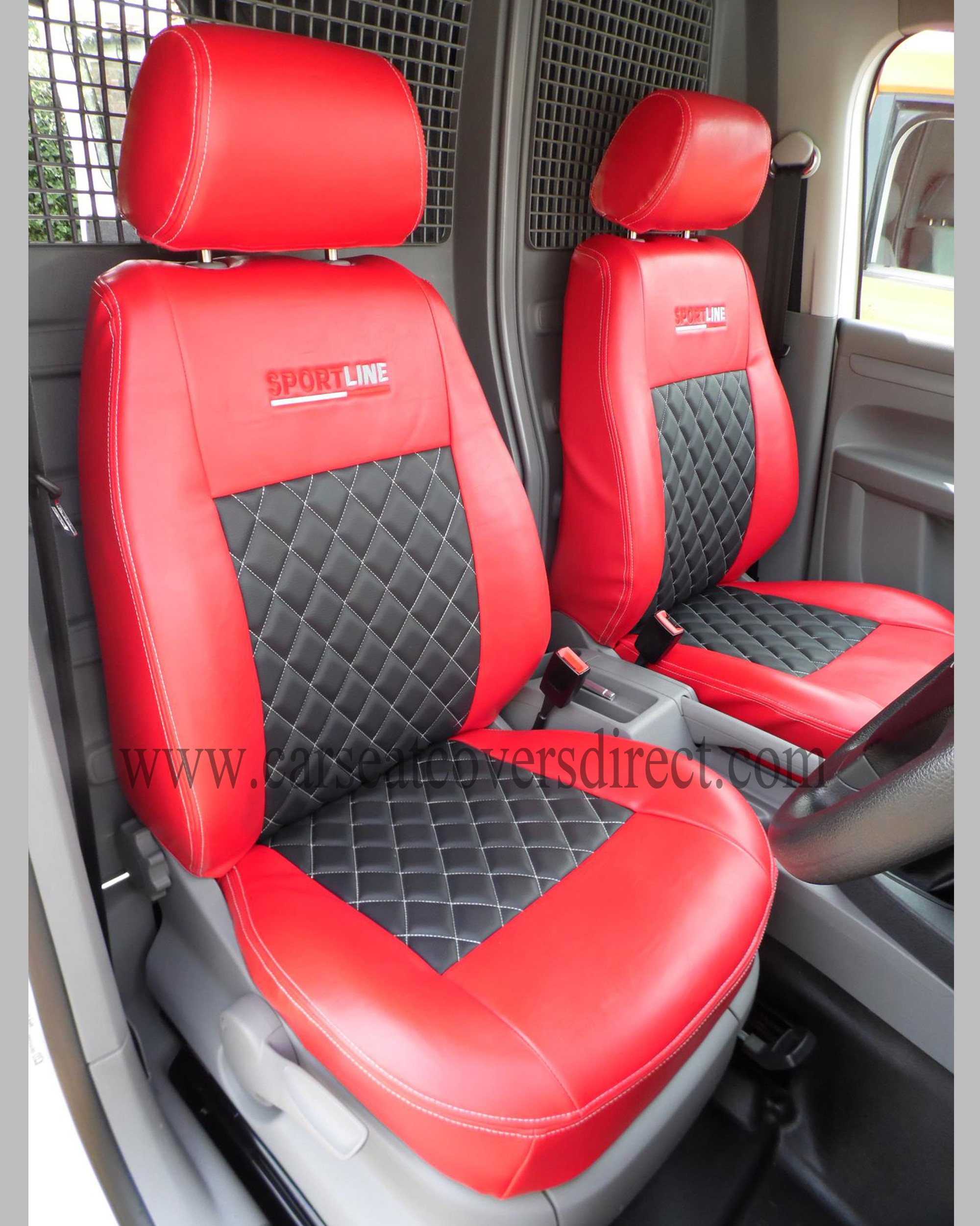 volkswagen vw caddy red black seat covers custom van seat covers custom tailored seat. Black Bedroom Furniture Sets. Home Design Ideas