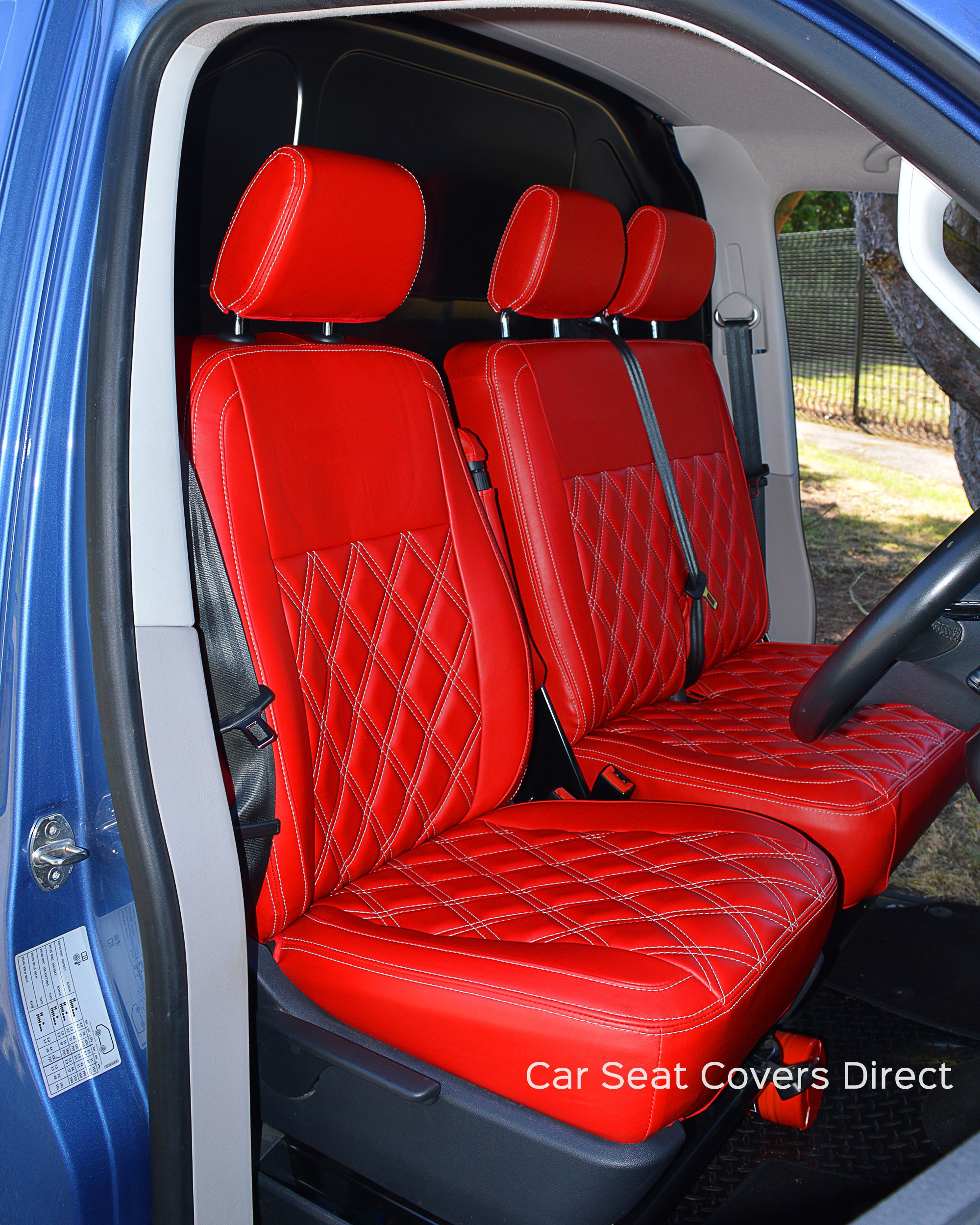 volkswagen vw transporter t5 tailored red seat covers car seat covers direct tailored to your. Black Bedroom Furniture Sets. Home Design Ideas