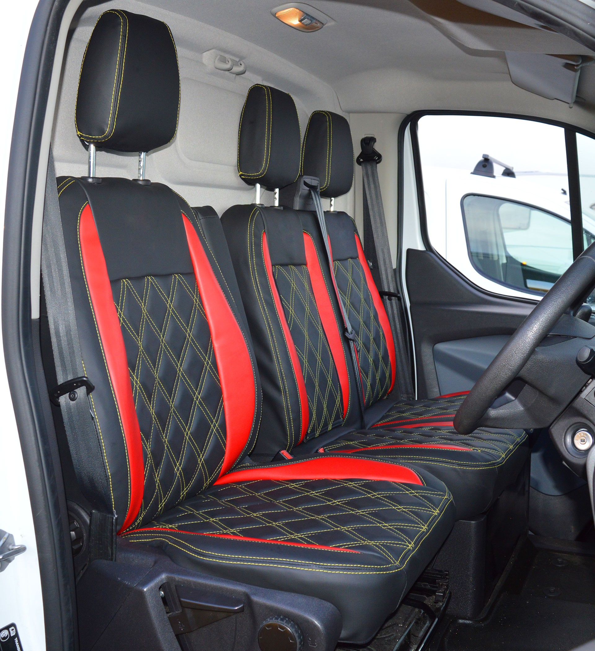 Ford Transit Custom Waterproof Tailored Van Seat Cover With Diamond Quilting, Yellow Stitching ...